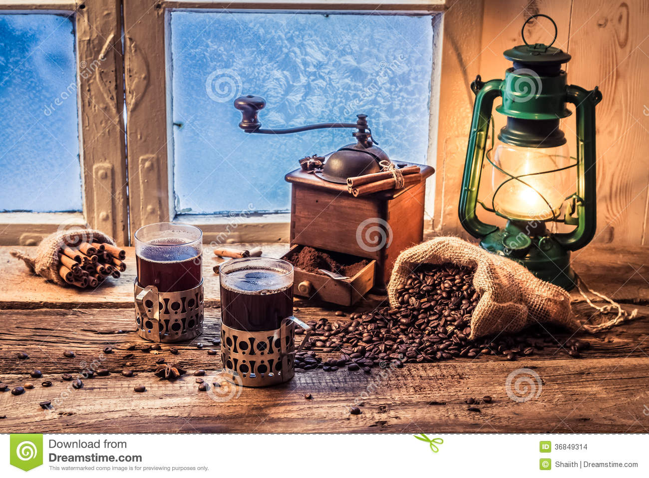 Enjoy Your Hot Coffee In Cold Day Stock Photo  Image of