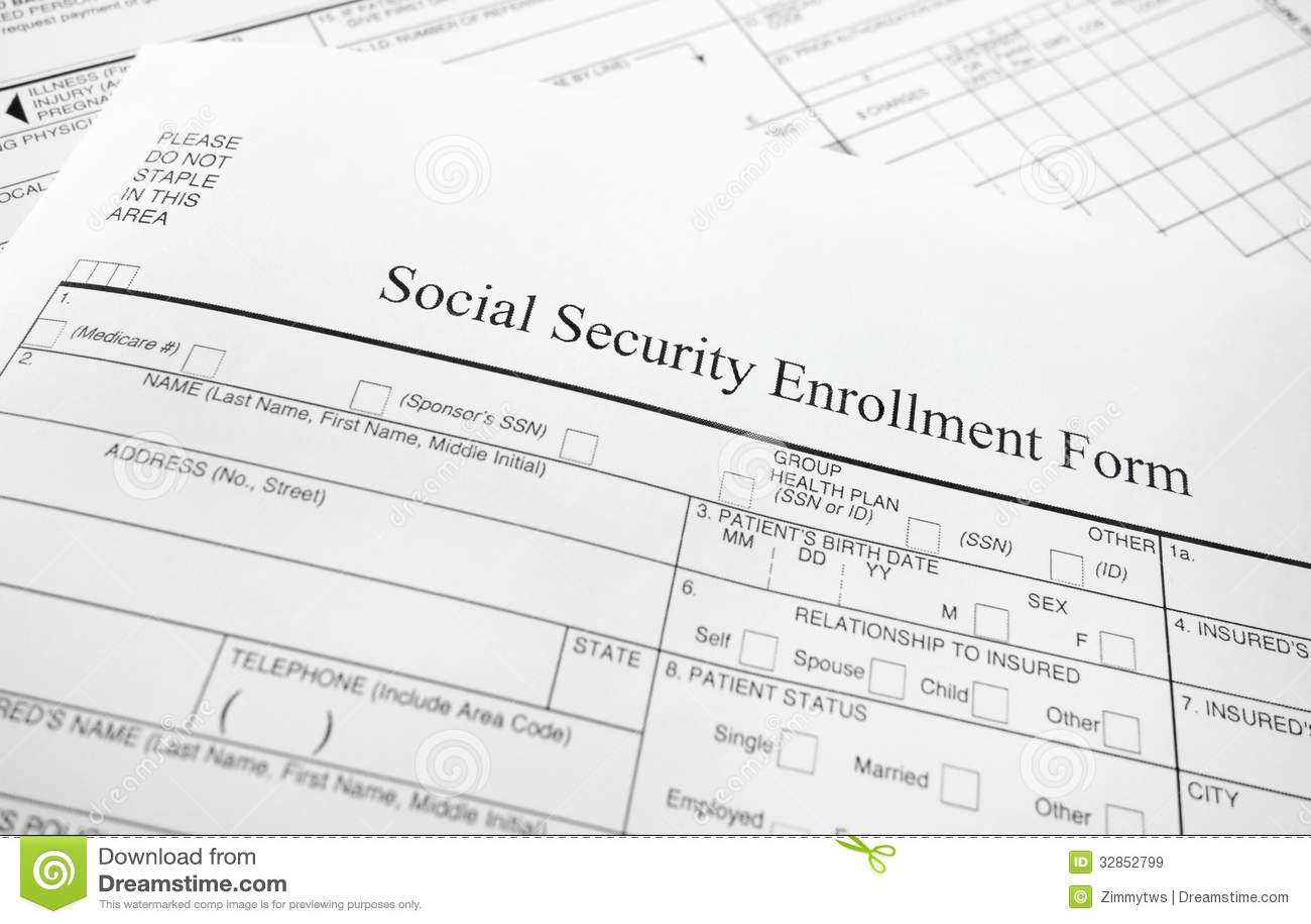 Enrollment Form Royalty Free Stock Images