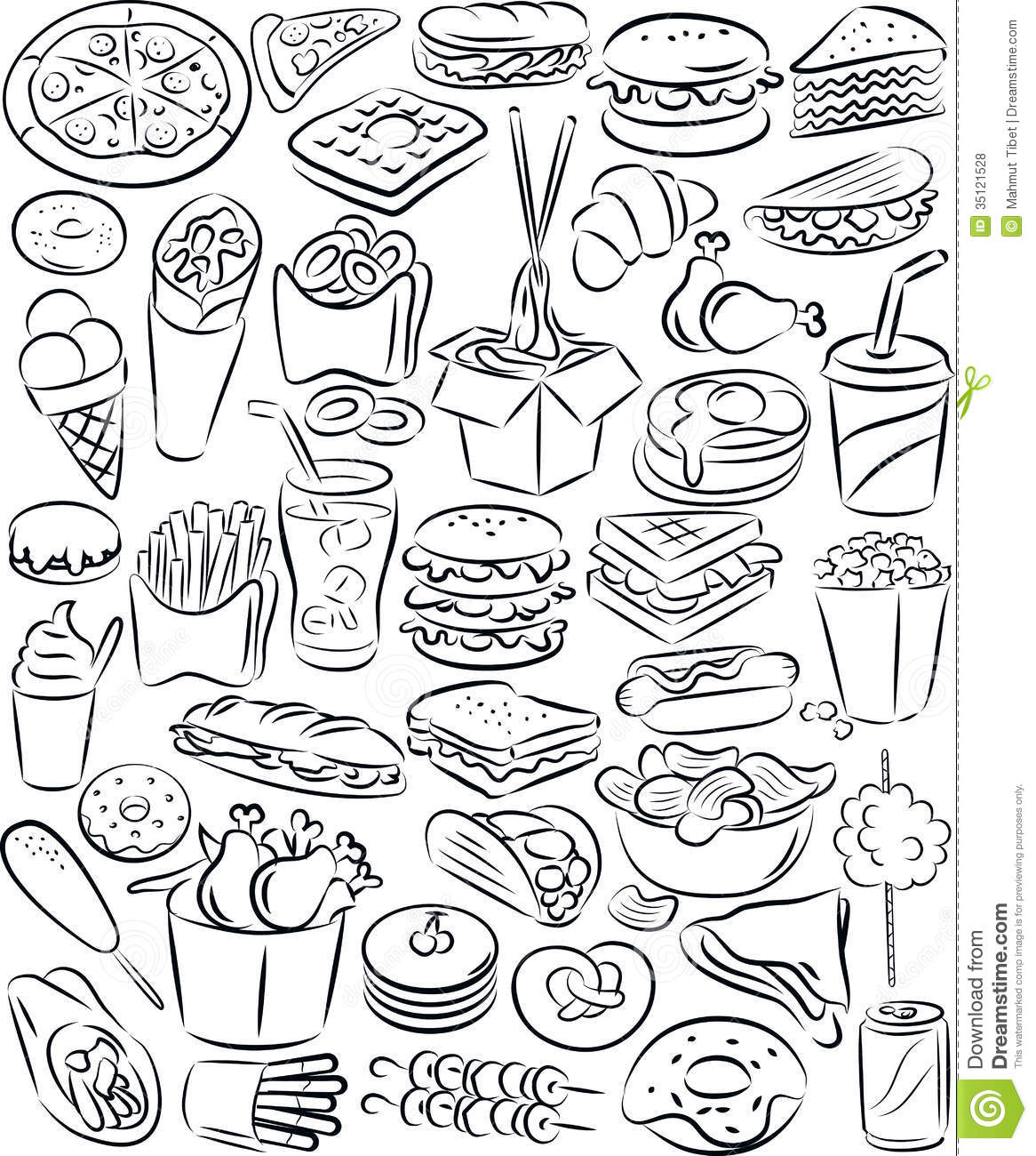 Ensemble D Aliments De Preparation Rapide Illustration De