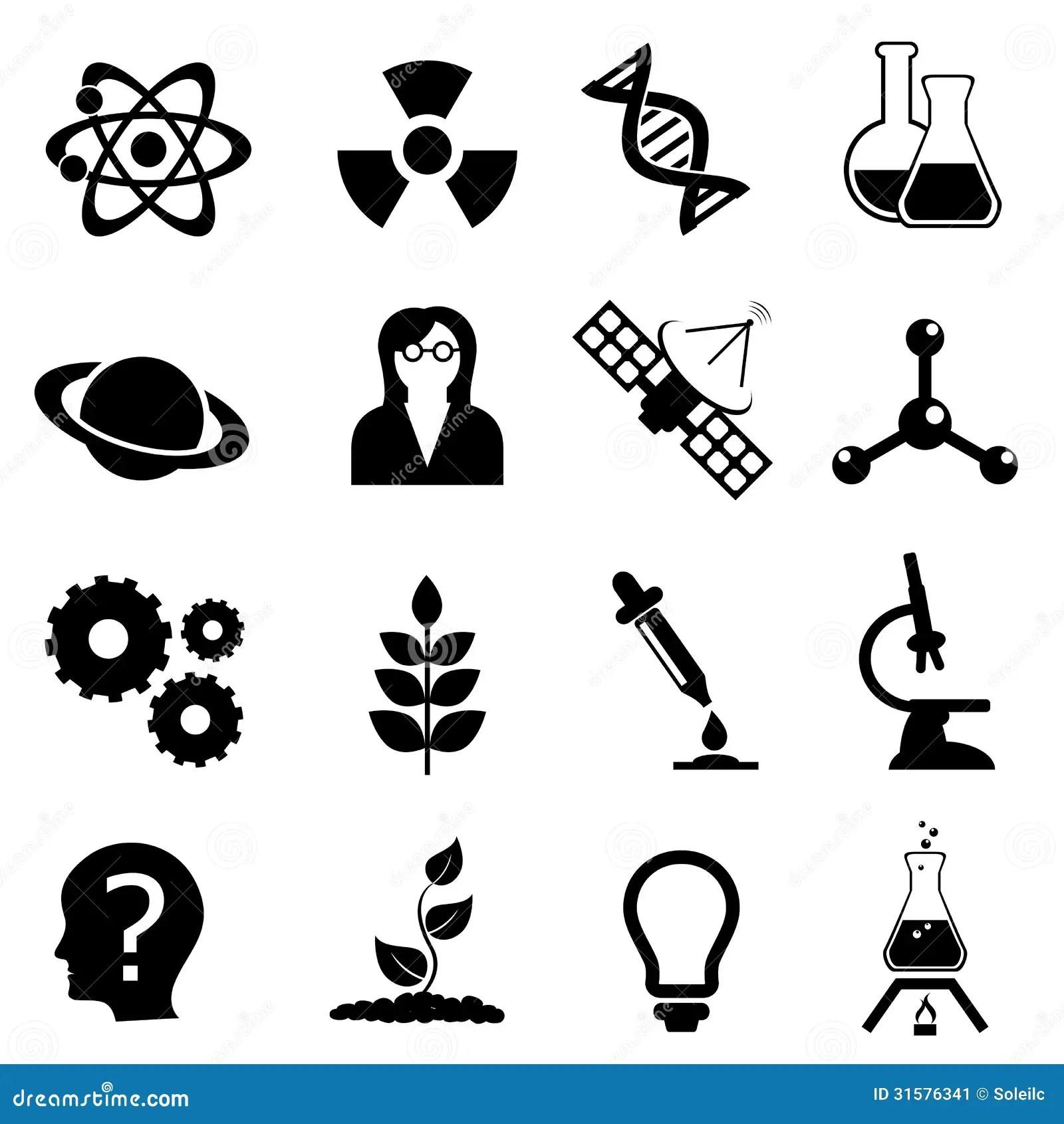 Ensemble D'icône De La Science, De Biologie, De Physique