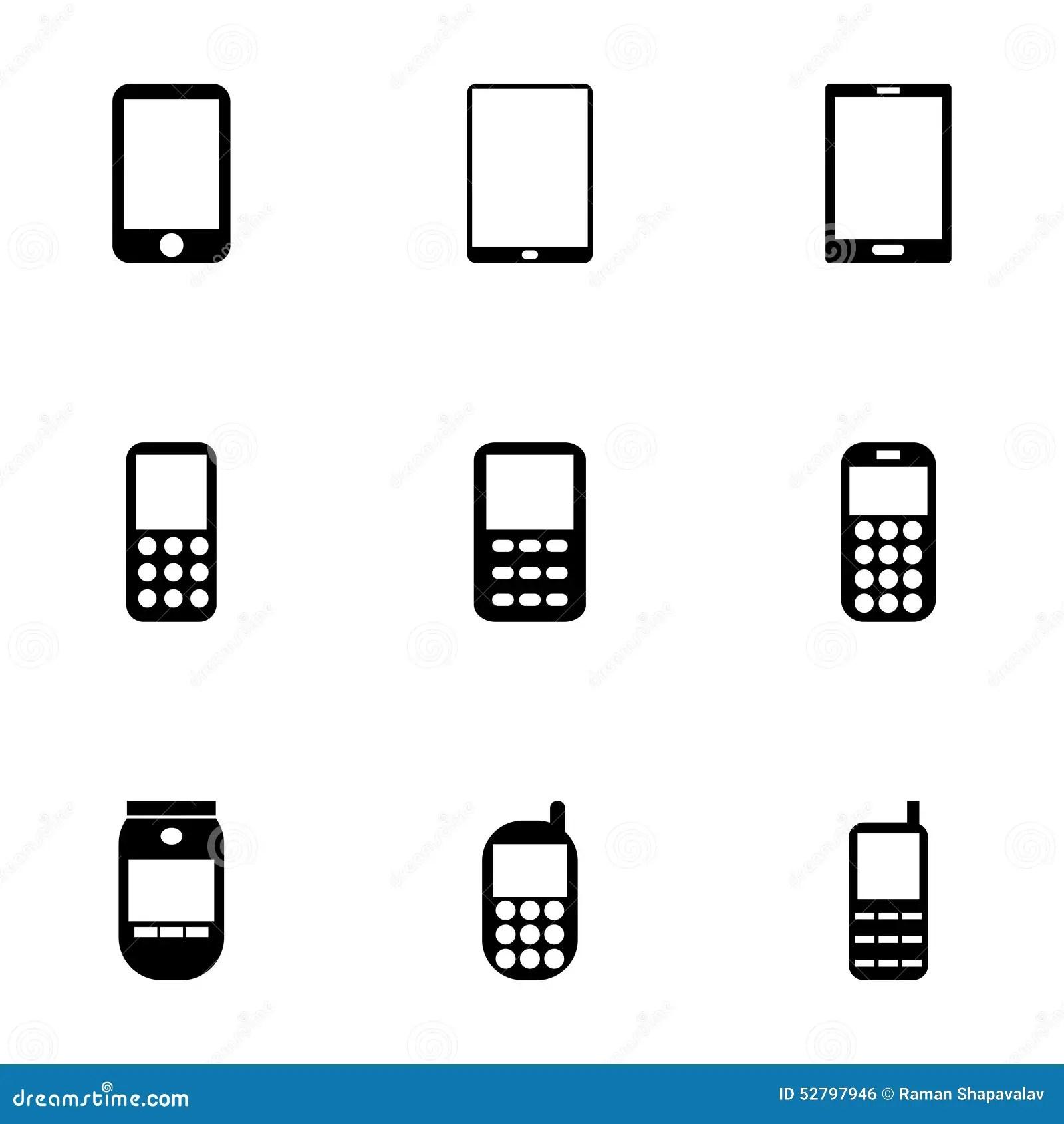 Ensemble D'icône De Téléphone Portable De Vecteur