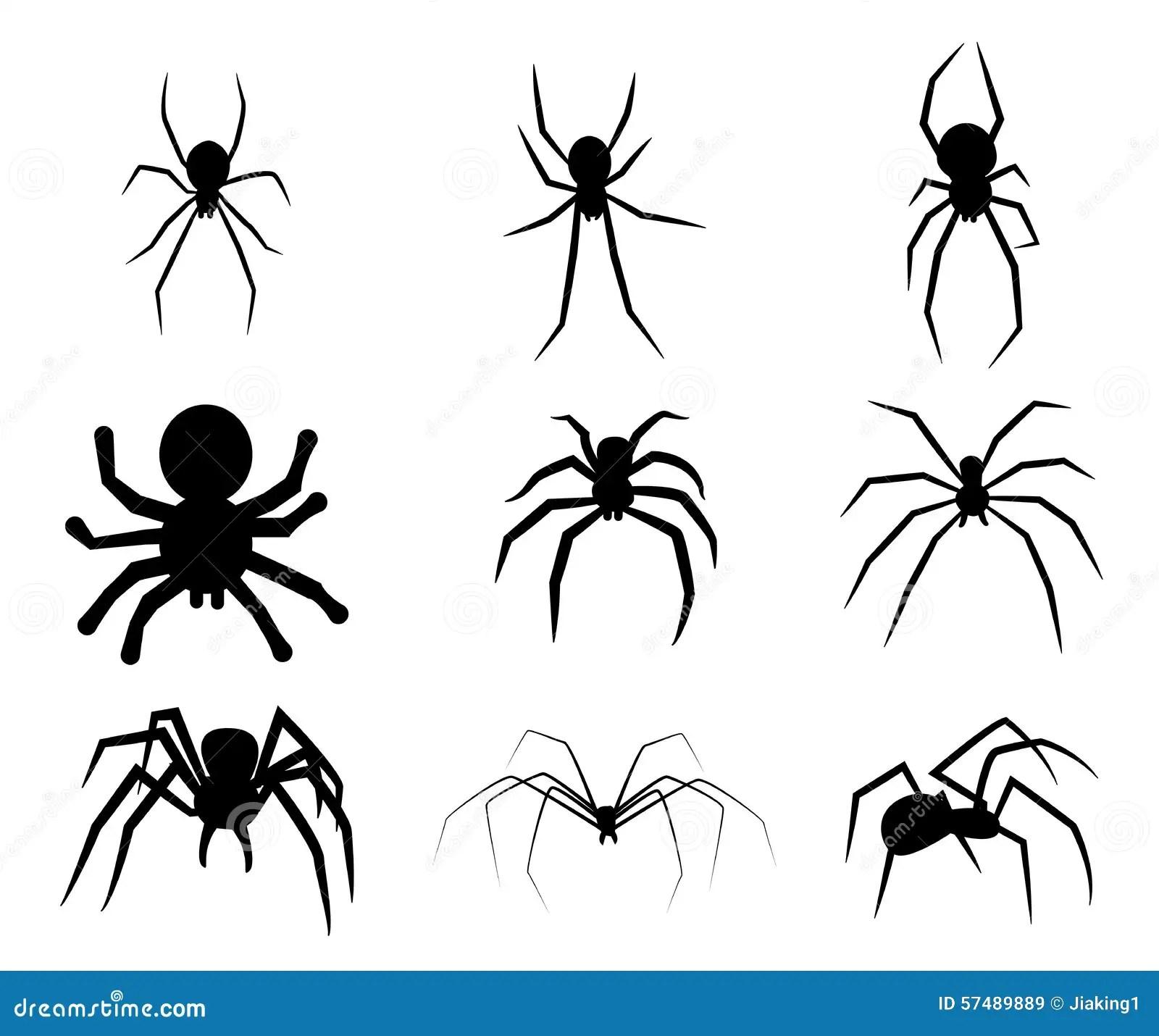 Ensemble D'icône Noire D'araignée De Silhouette