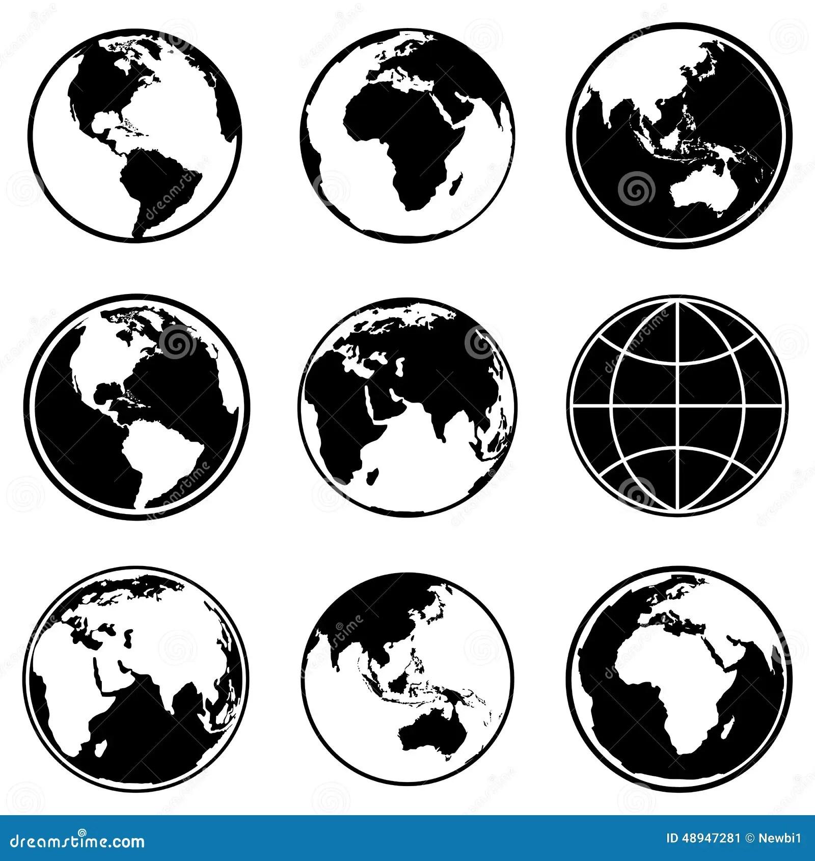 Ensemble D'icônes De Globe De Planète De La Terre Vecteur