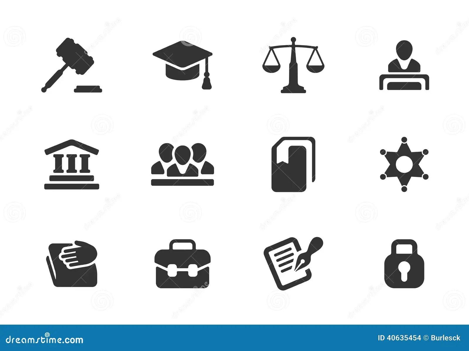 Ensemble D Icones De Loi Et De Justice Illustration De