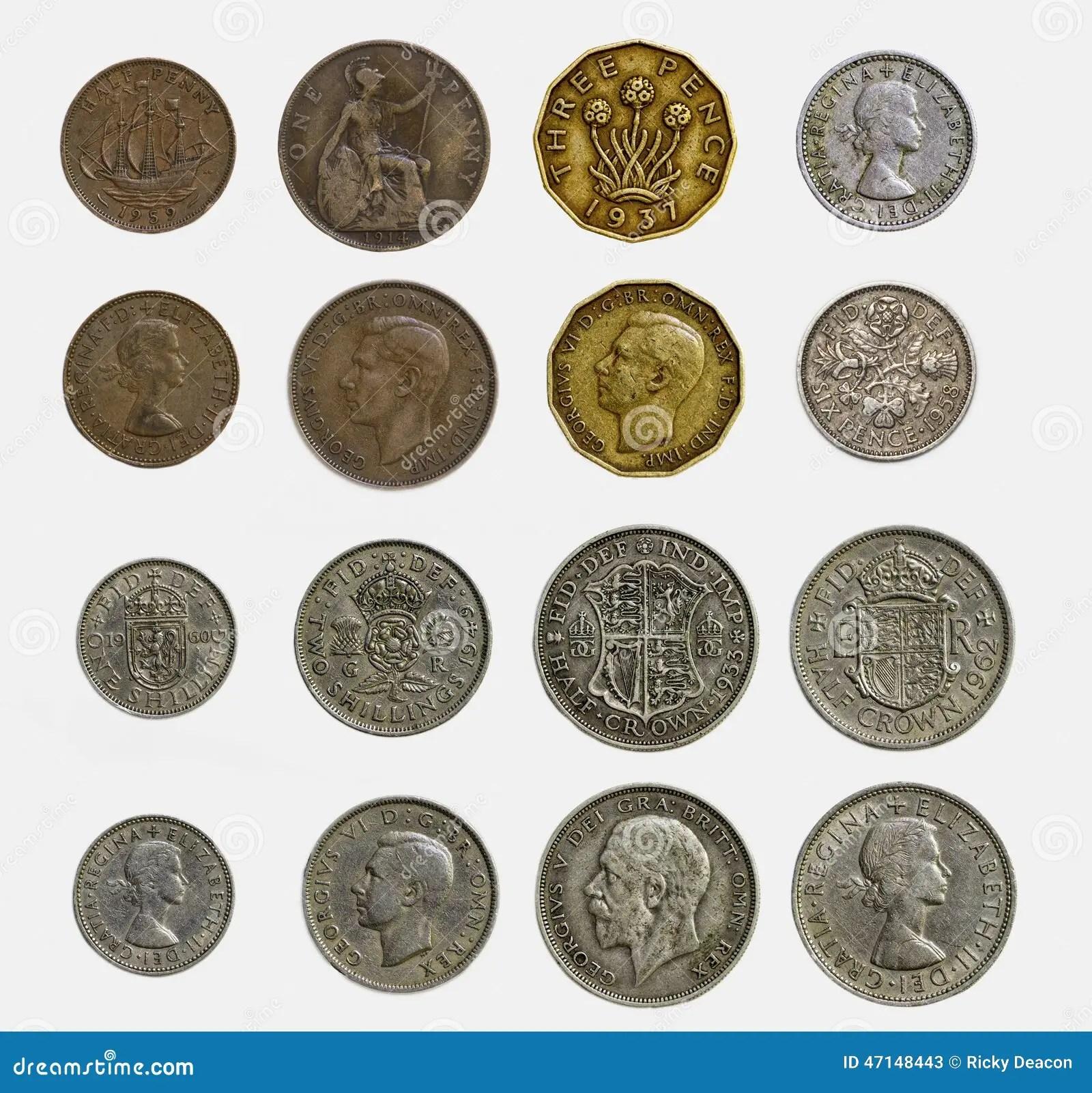 Ensemble D Isolement De Pieces De Monnaie Anglaises Pre