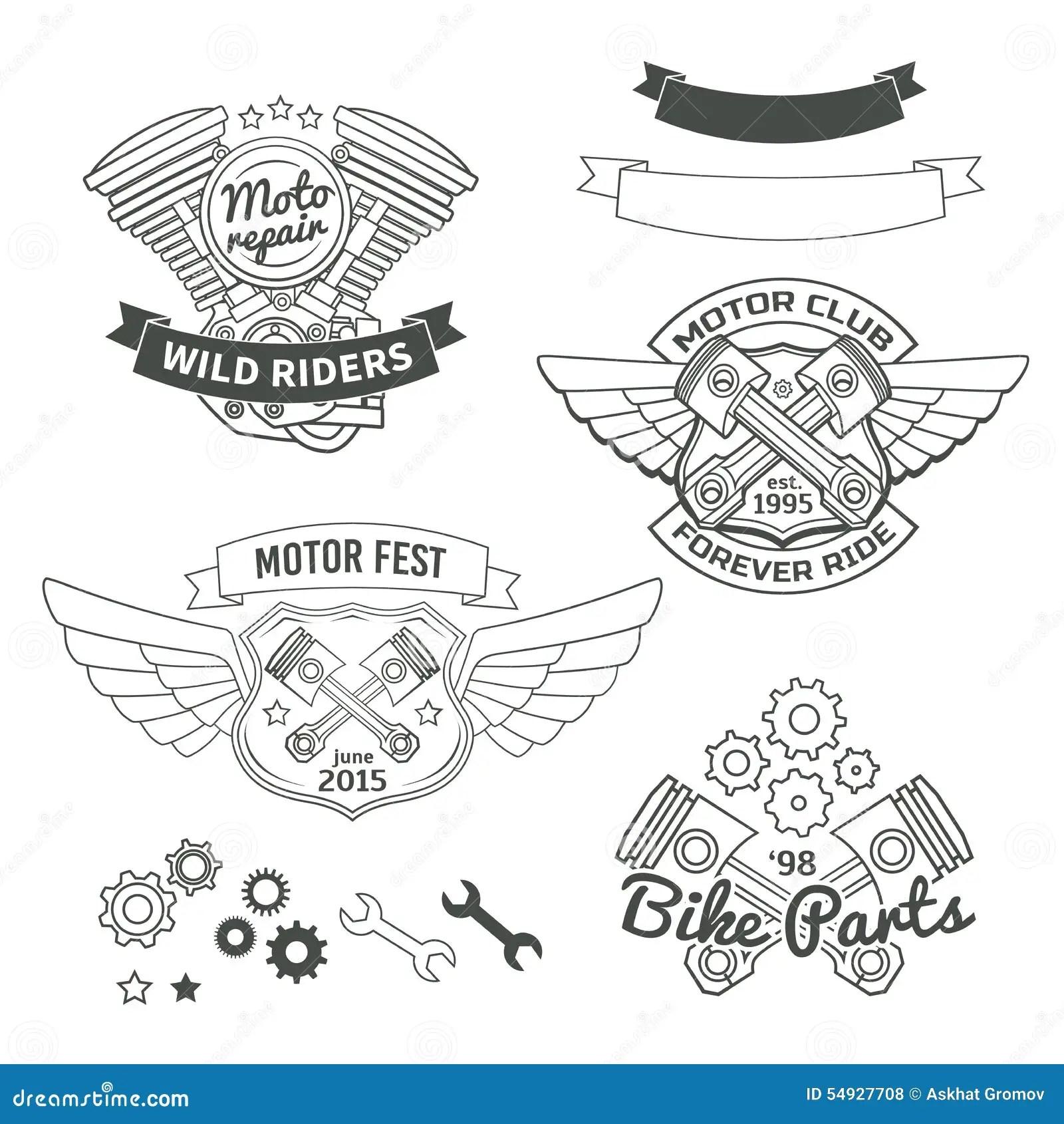 Ensemble De Labels De Vintage De Cycliste Logo De Moteur
