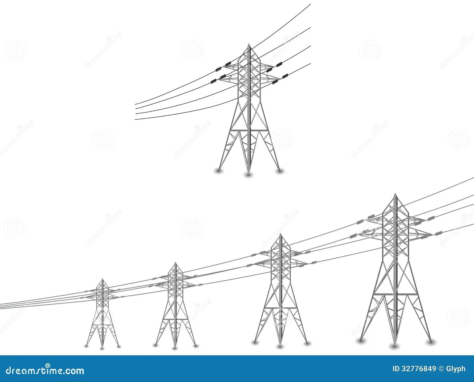 Ensemble De Lignes Electriques Et De Pylones Electriques