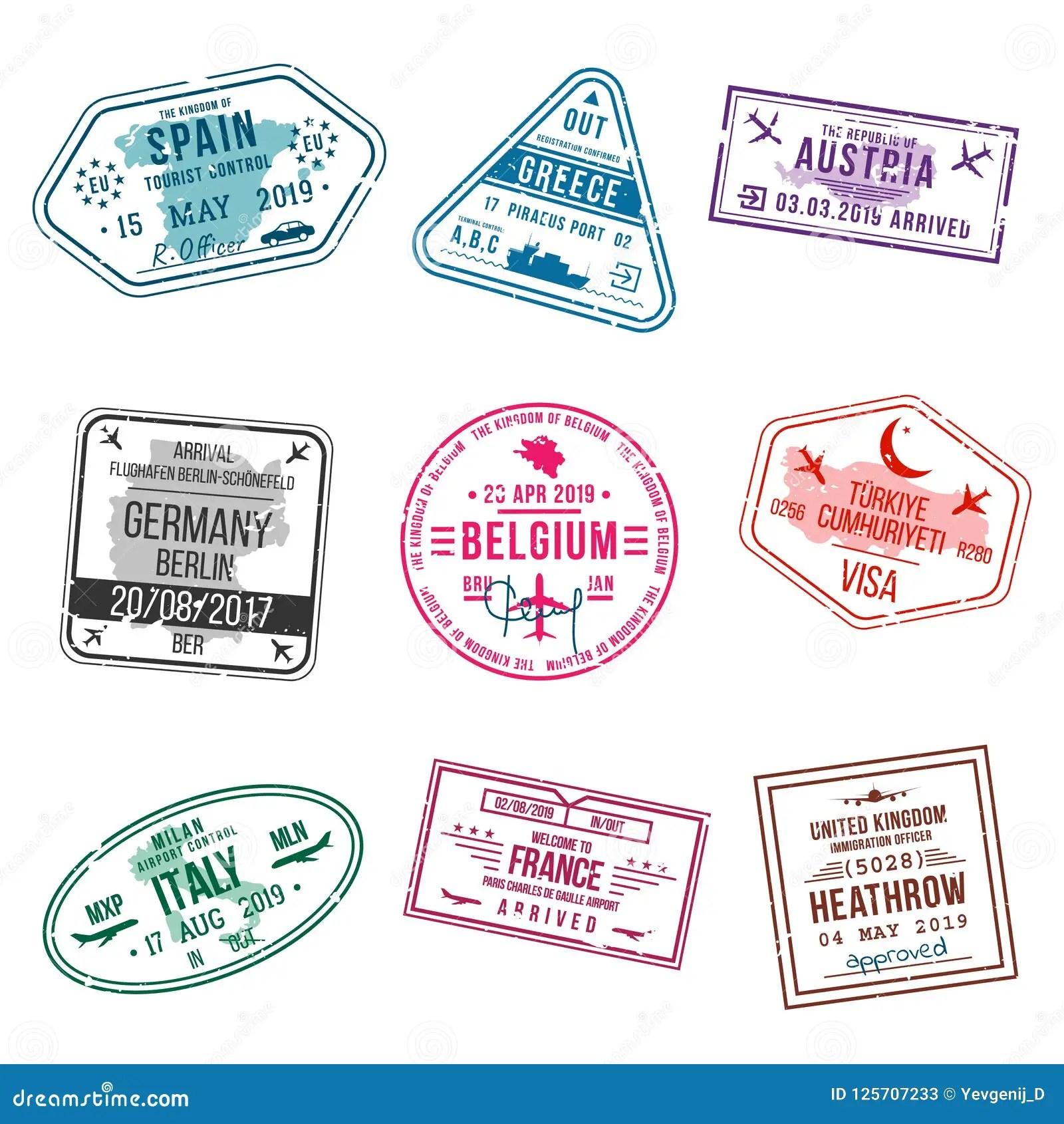 ensemble de sceaux pour des passeports timbres de bureau d international et d immigration sceaux d