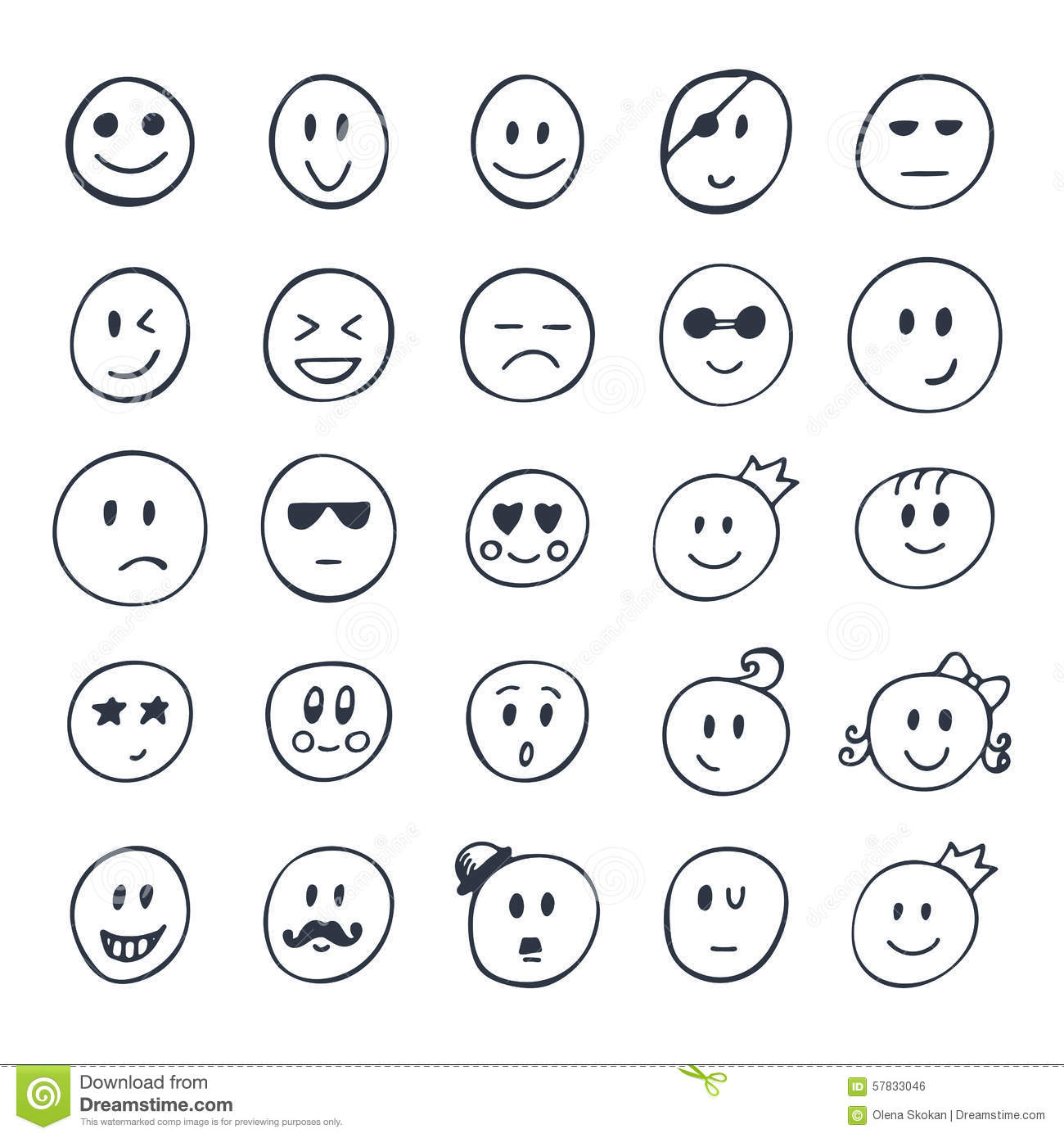 Ensemble De Smiley Tire Par La Main Visages Droles Avec