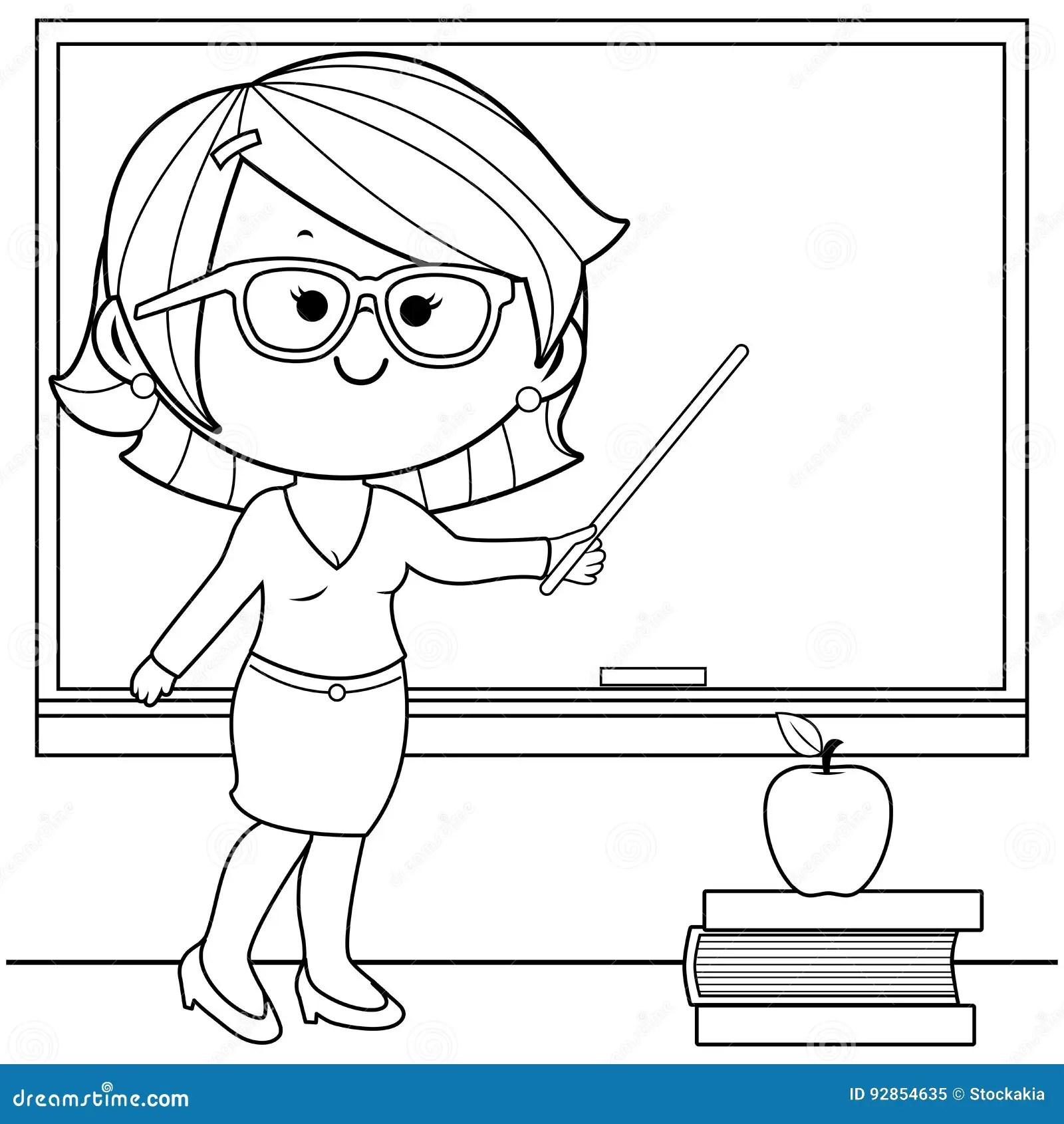 Ensino Do Professor Na Pagina Do Livro Para Colorir Da Classe Ilustracao Do Vetor