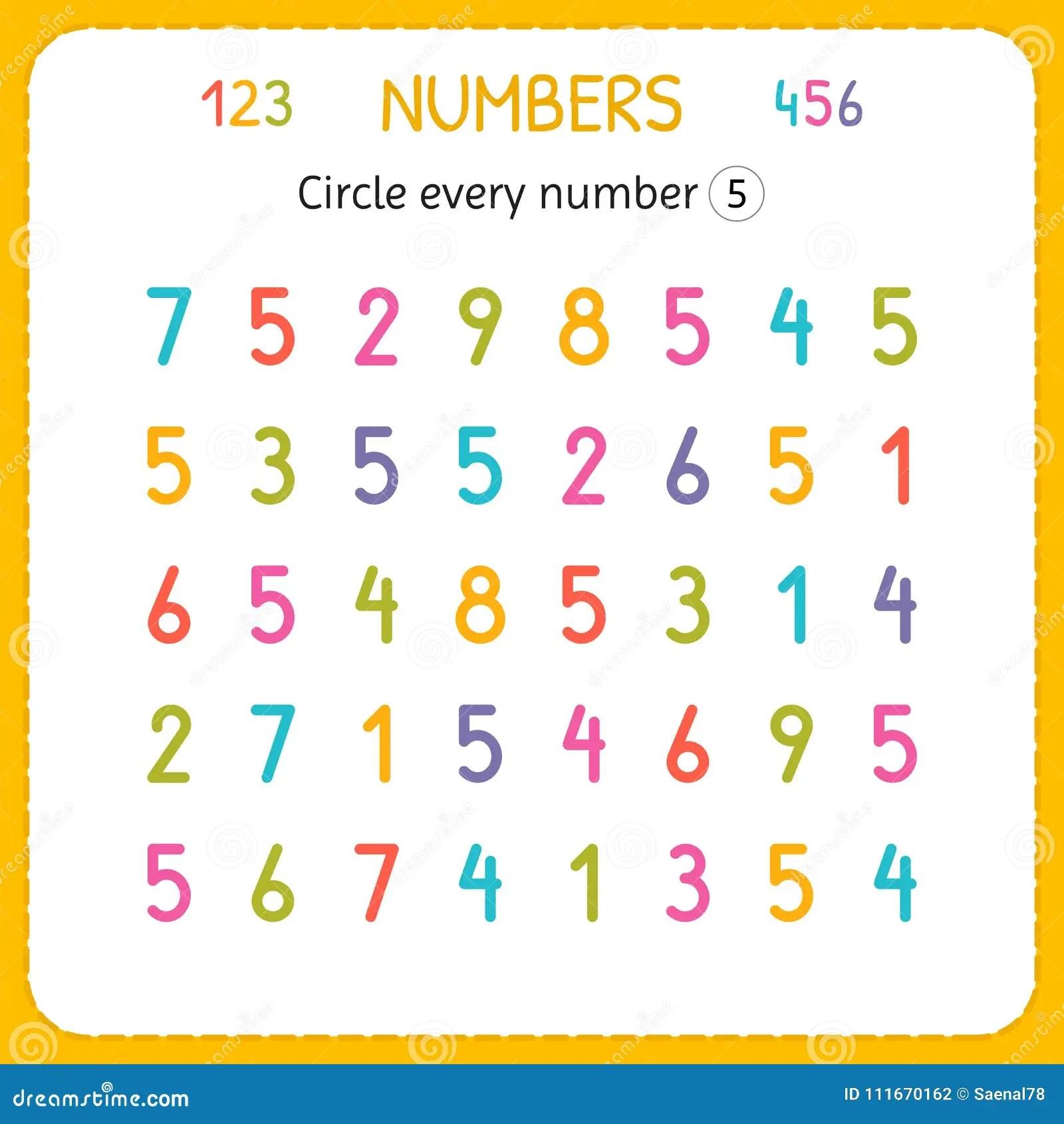 Entourez Chaque Numero Cinq Nombres Pour Des Enfants Fiche