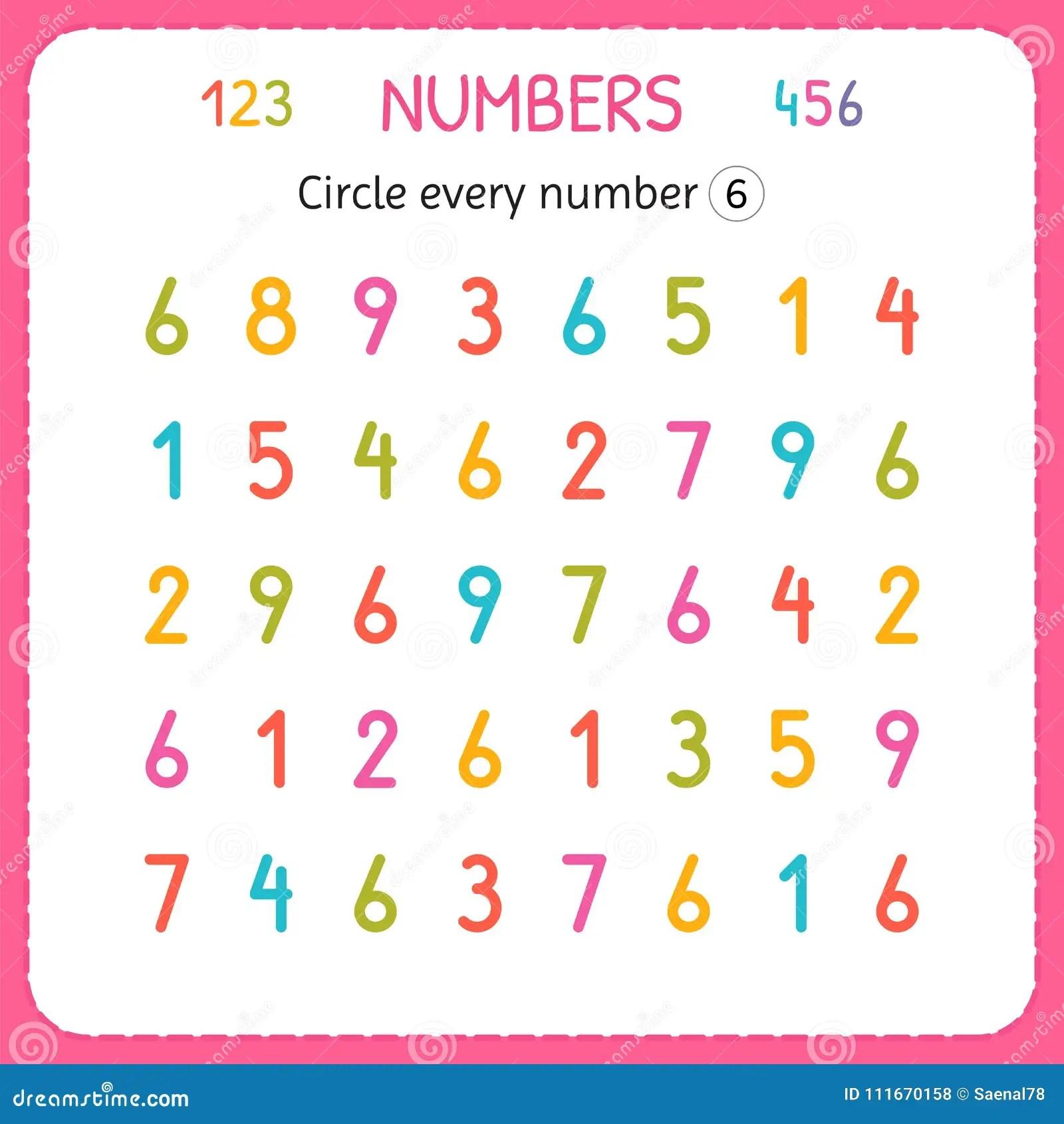 Entourez Chaque Numero Six Nombres Pour Des Enfants Fiche