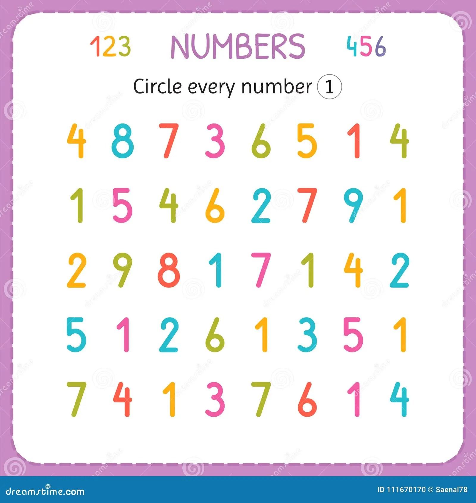 Entourez Chaque Numero Un Nombres Pour Des Enfants Fiche De Travail Pour Le Jardin D Enfants Et