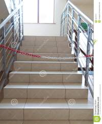 Entrance Stairs Closed With Rope, No Entry Sign. Stock