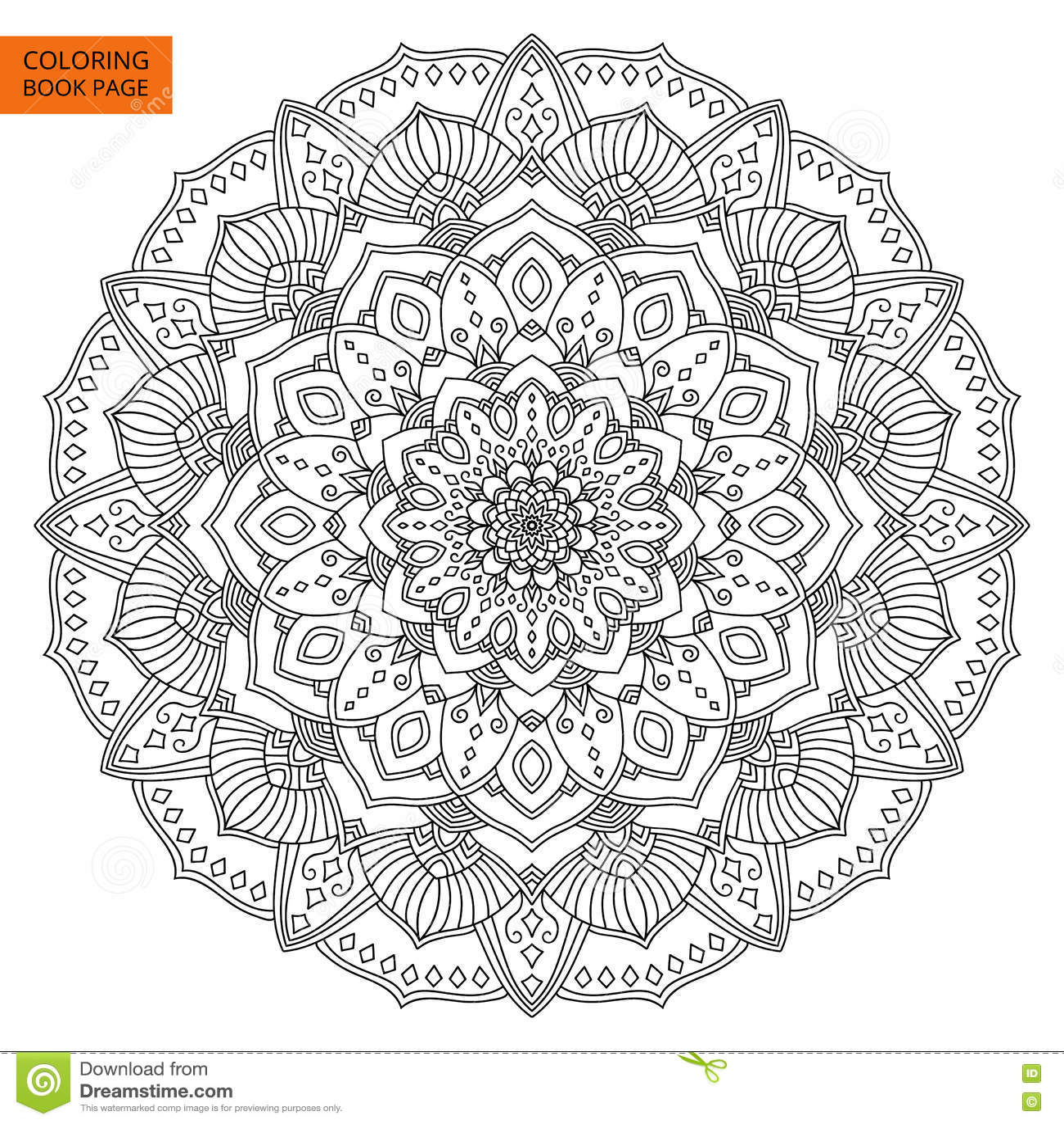 Entwurf Mandala Flower Fur Malbuch Vektor Abbildung