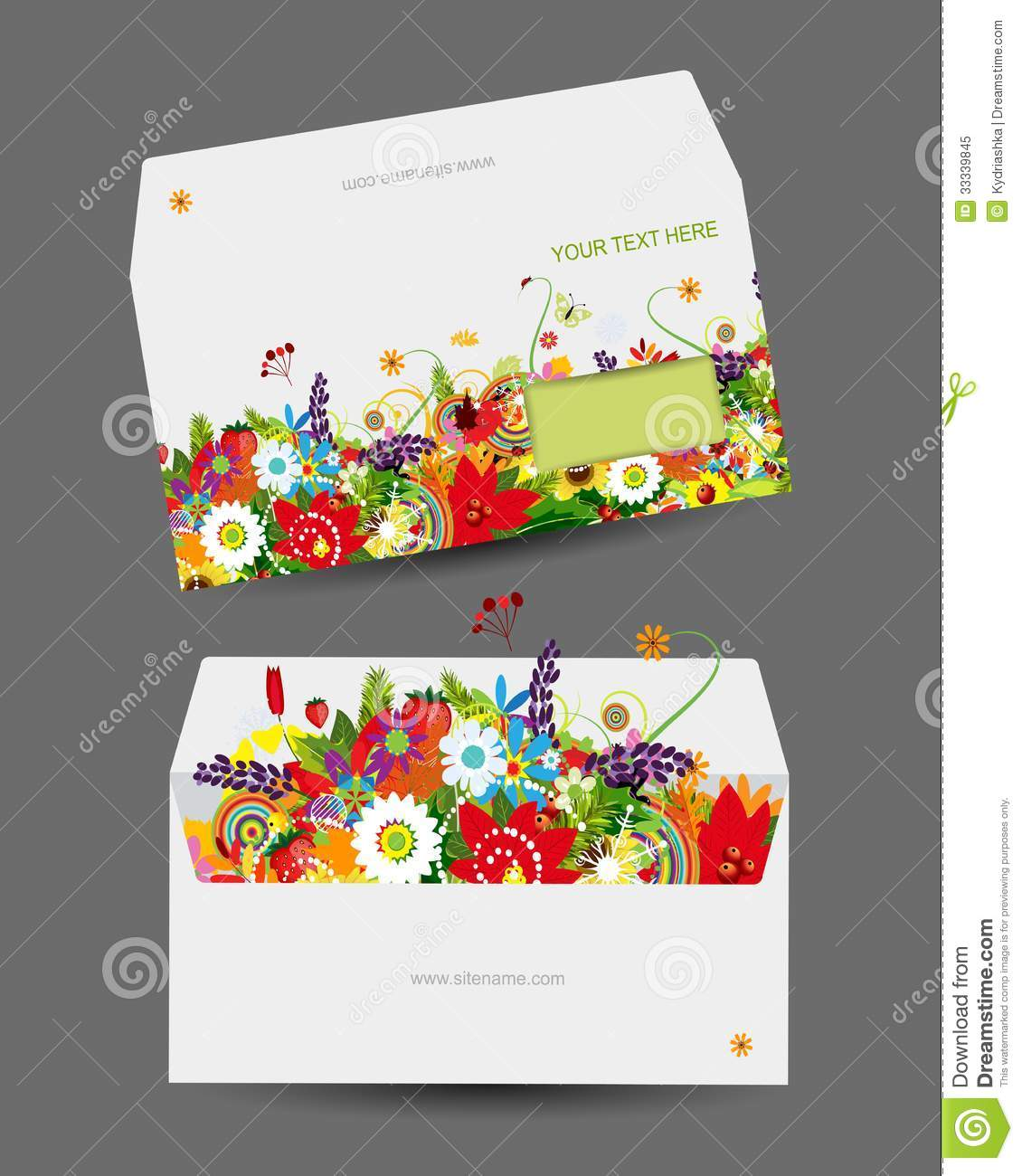 Envelope Template Floral Design Royalty Free Stock Photo Image 33339845