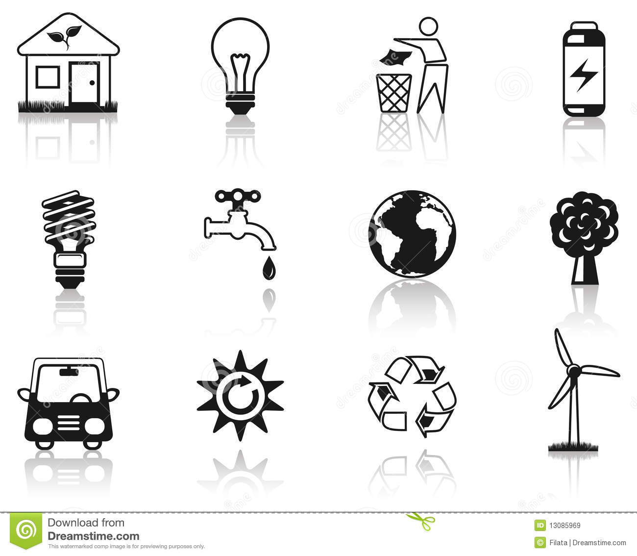 Environment Black Icon Set. Royalty Free Stock Images