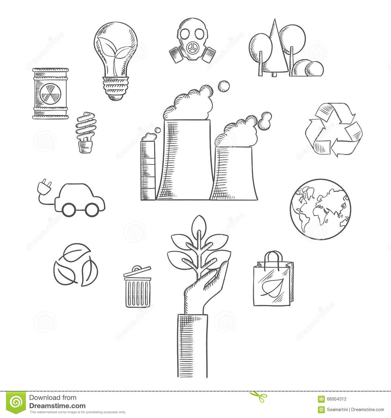 Environment And Ecological Conservation Sketch Stock