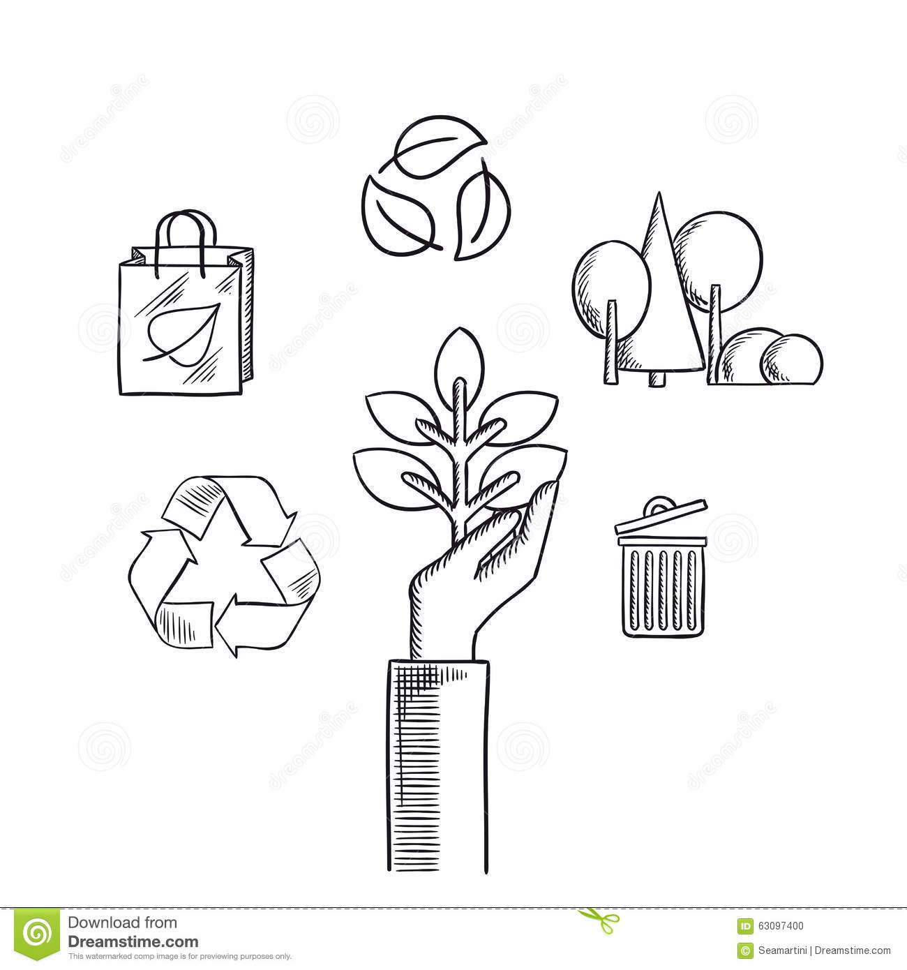 Environment Ecology And Save Nature Sketch Icons Stock