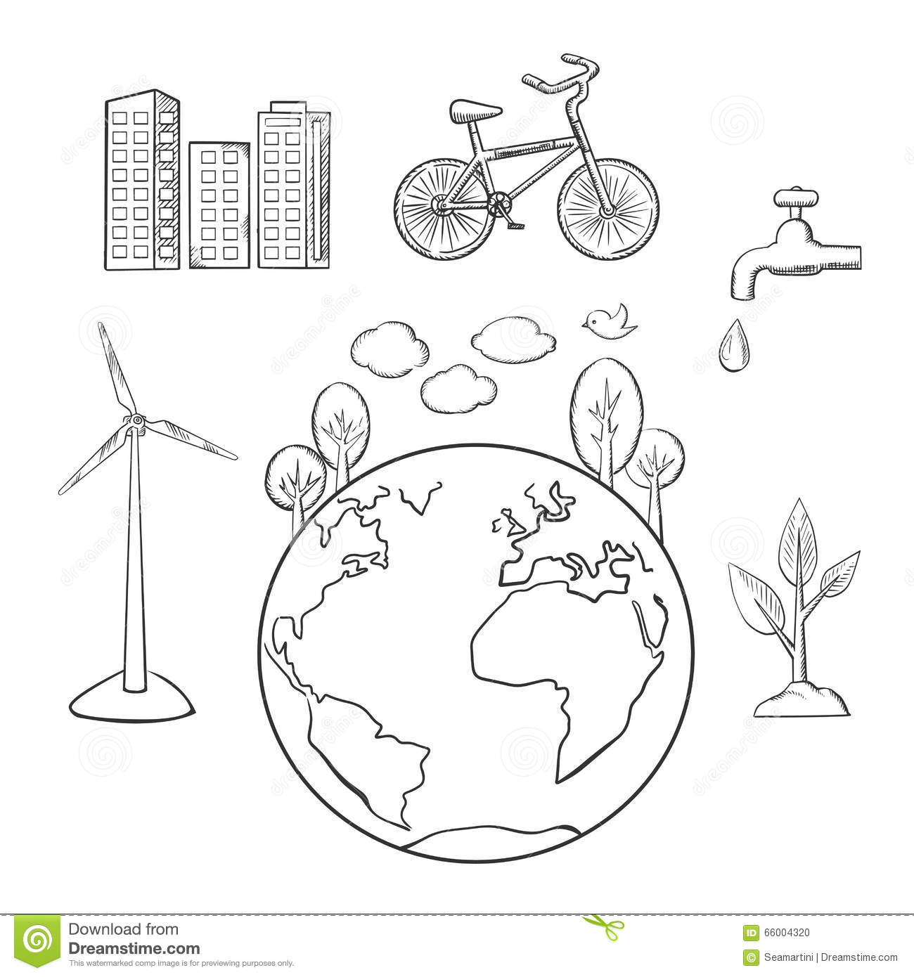 Environment, Green Energy And Ecology Sketches Stock