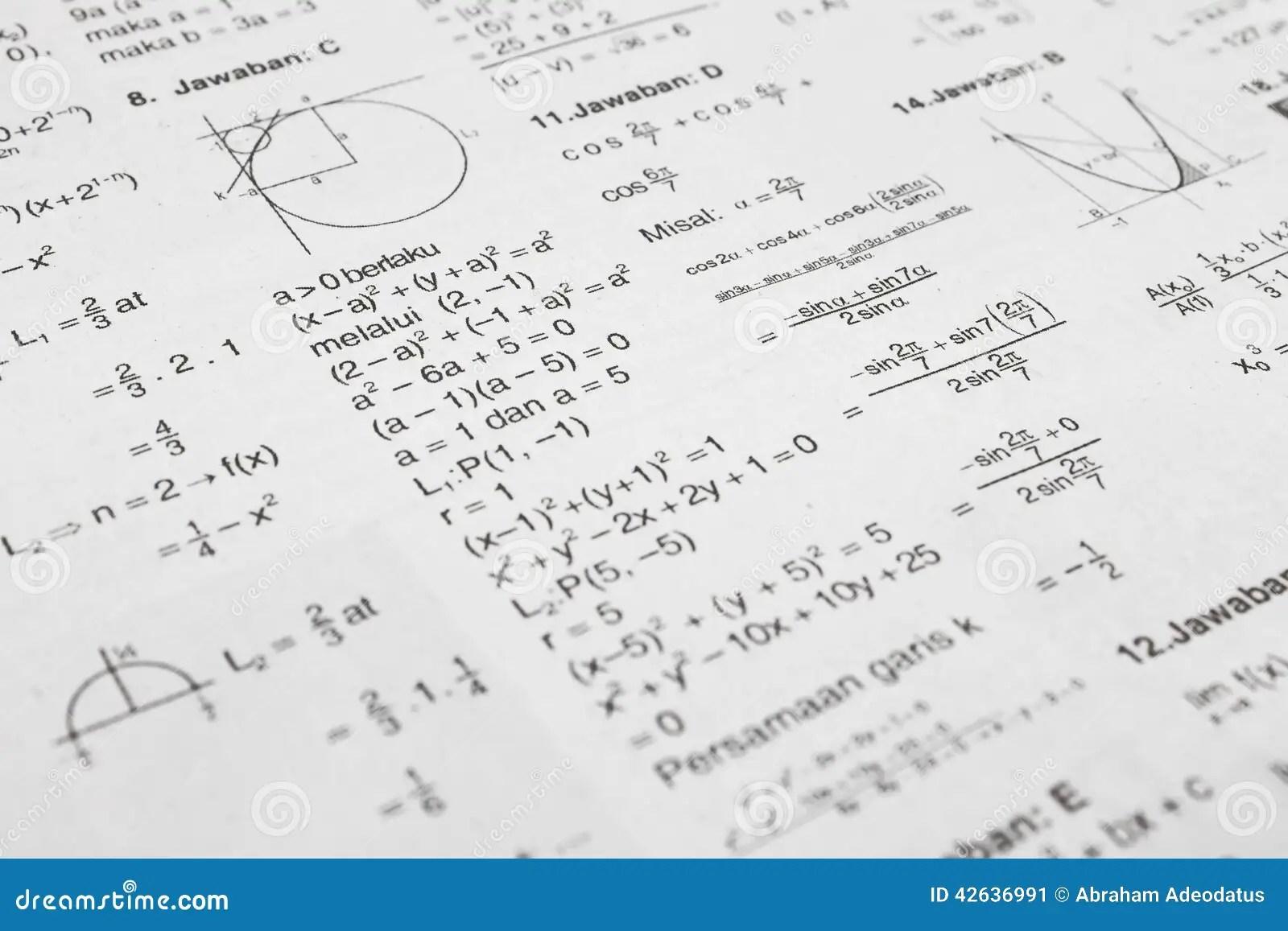 Equações da matemática imagem de stock. Imagem de curva