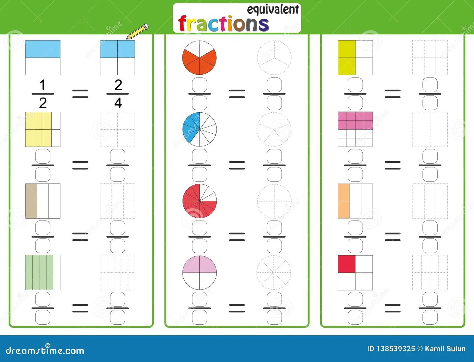 Equivalent Frantions Mathematics Math Worksheet Find