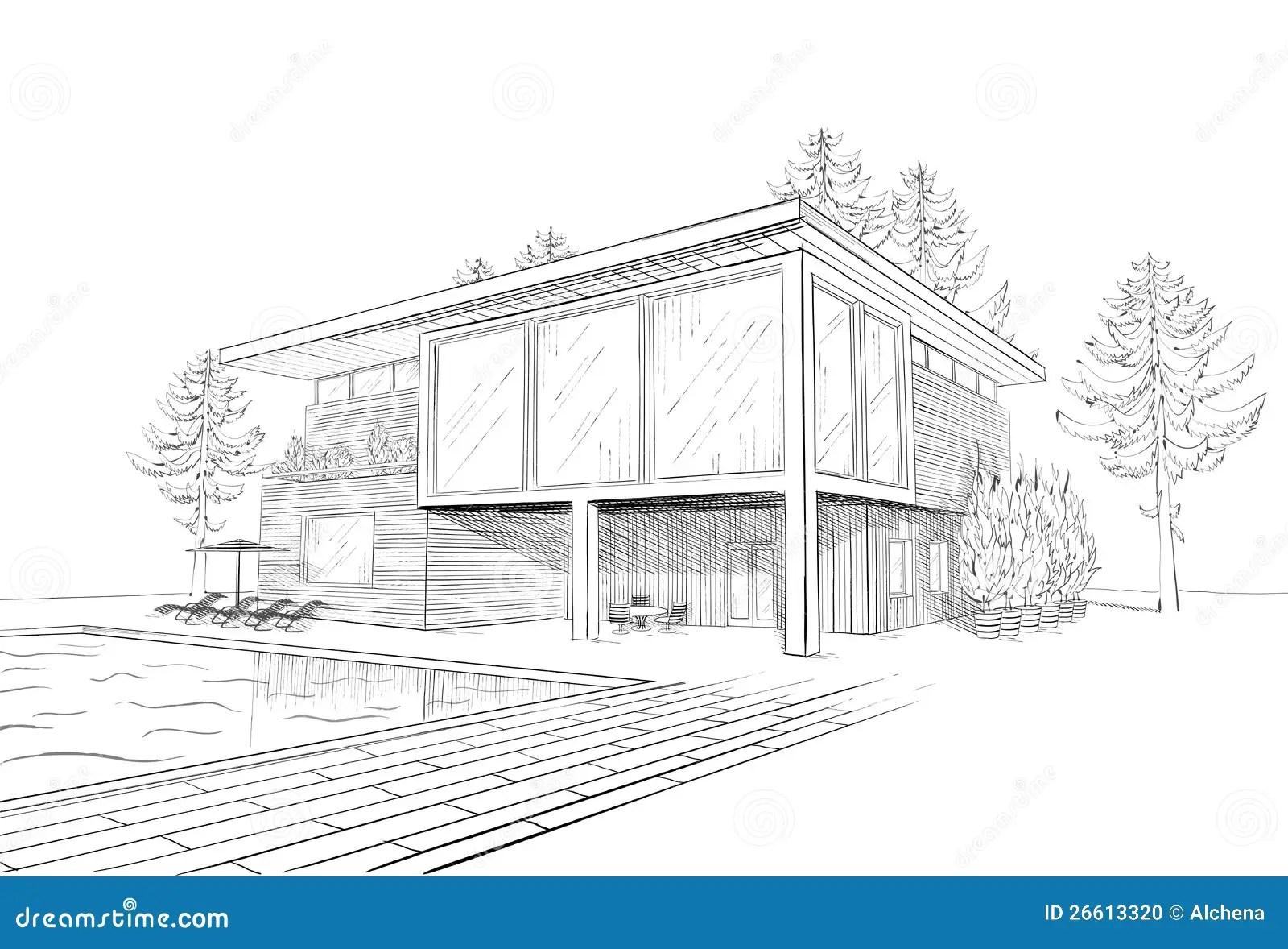 Esboco Do Vetor Da Casa Moderna Com Swimmingpool Ilustracao Do Vetor
