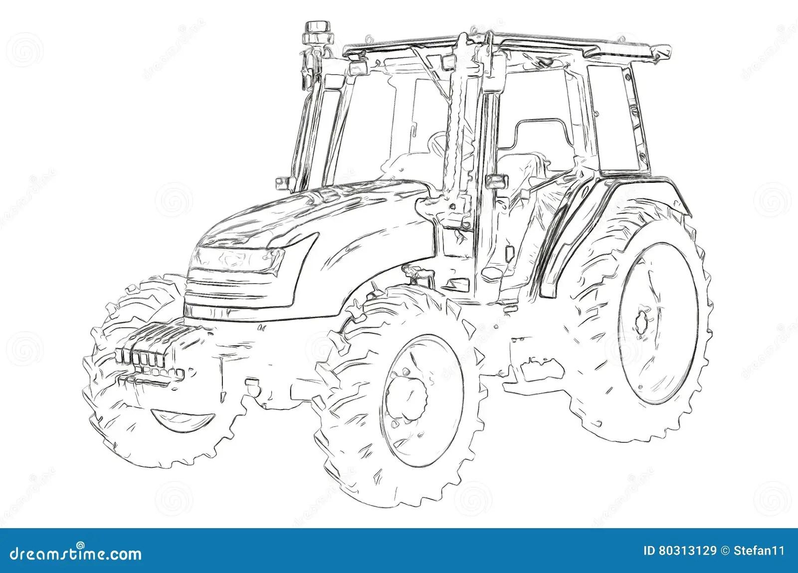 Esbocos Do Trator Agricola Ilustracao Stock Ilustracao De