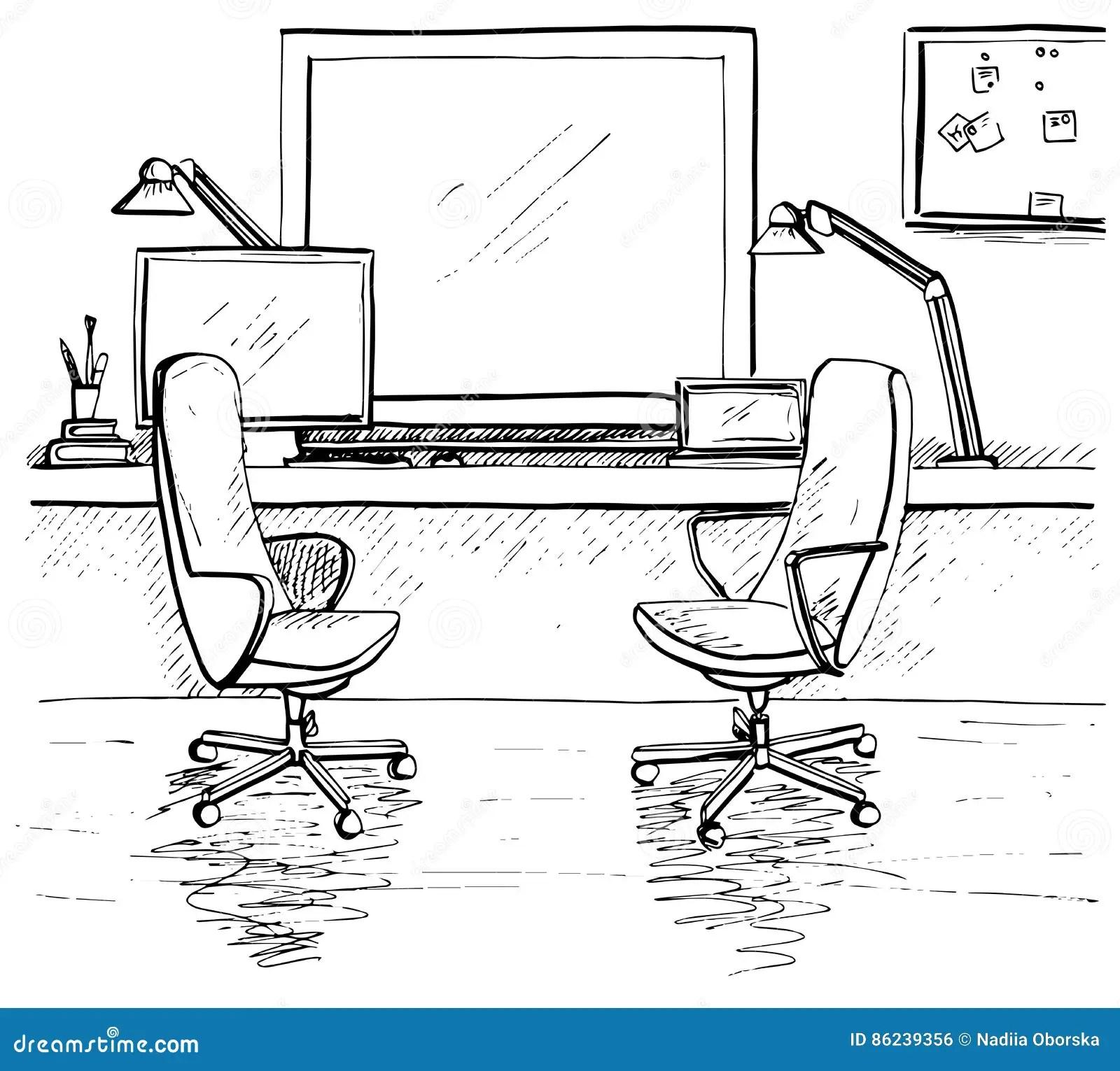 Esboce A Sala Duas Cadeiras Do Escritorio Mesa Varios Objetos Na Tabela Espaco De Trabalho Do