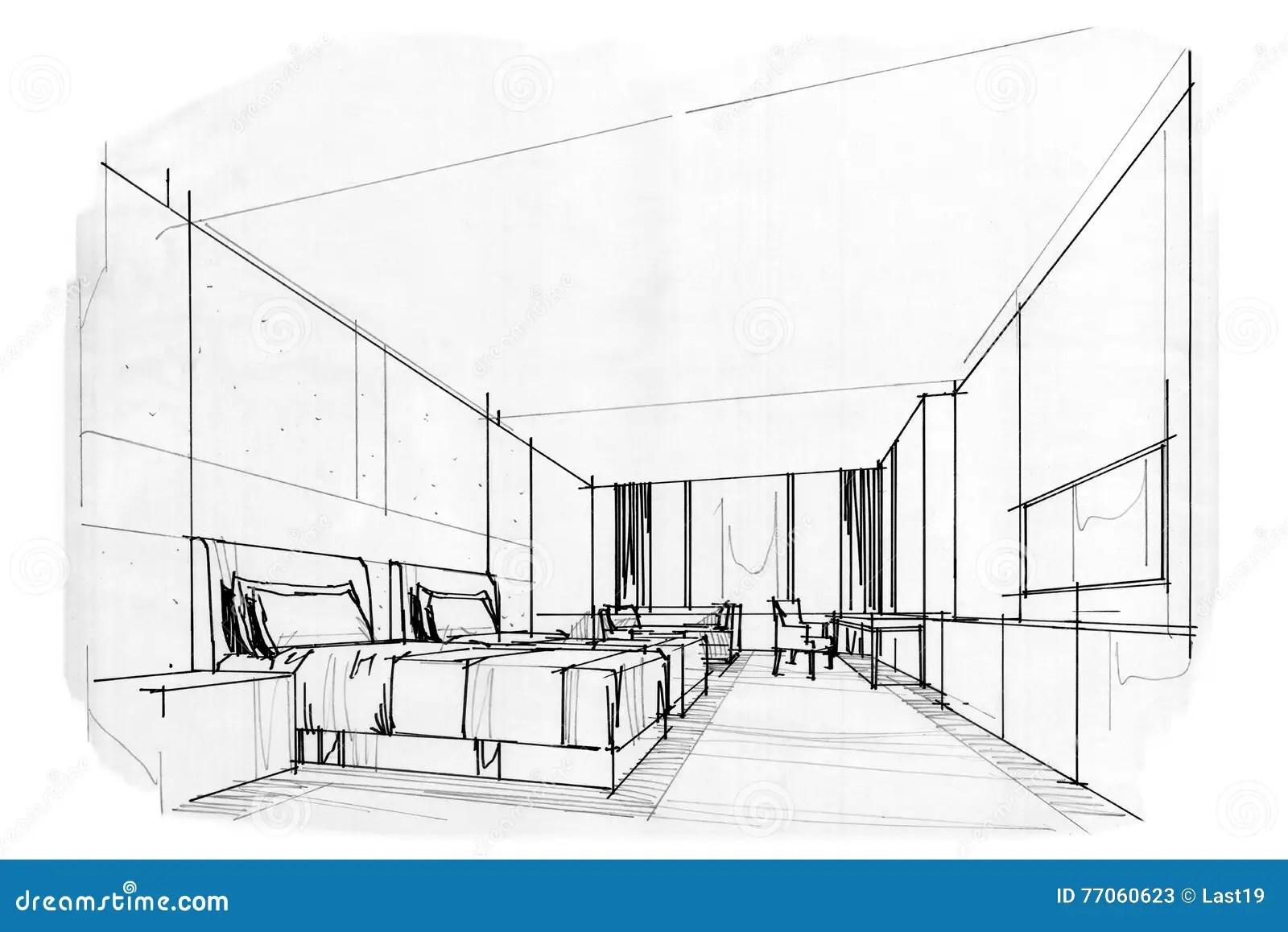 Esboce A Sala Interior Da Cama Da Perspectiva Design De Interiores Preto E Branco Ilustracao