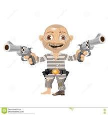Escaped Convict Cartoon Character Of Wild West Stock
