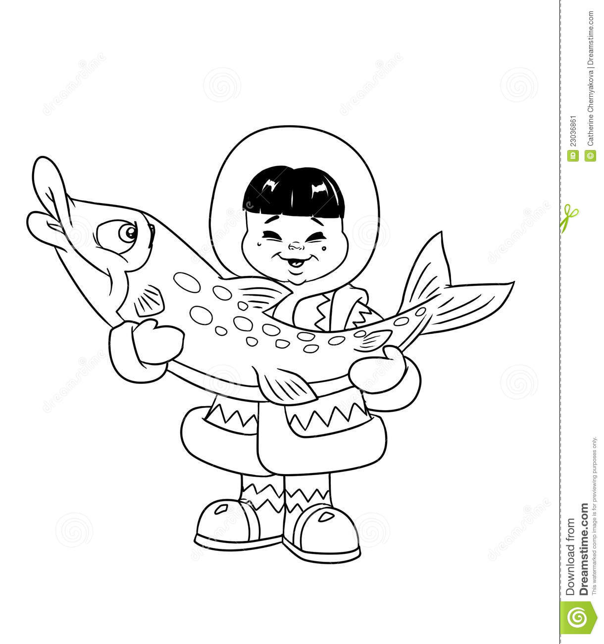 Eskimo Boy Coloring Stock Image