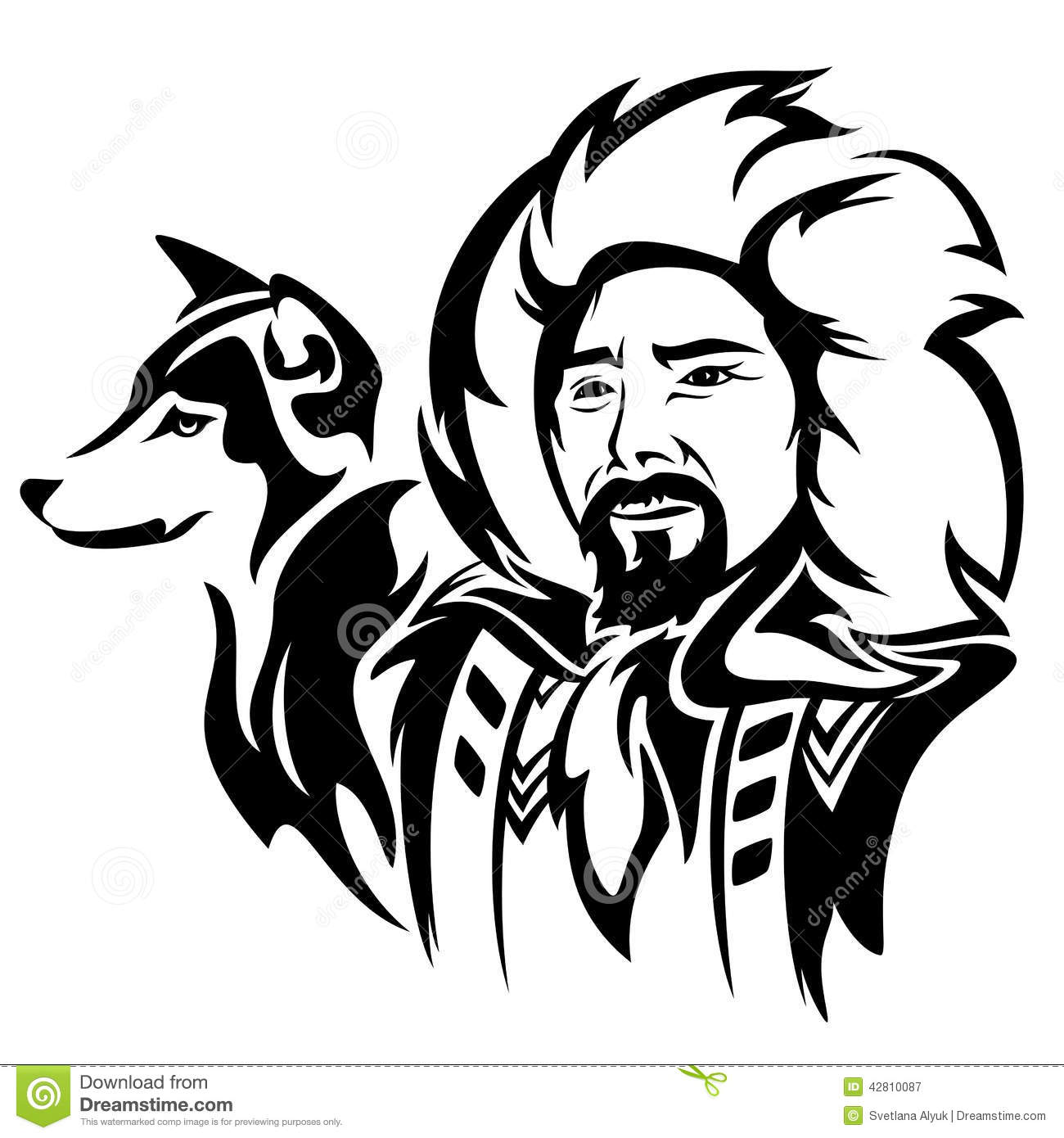 Eskimo With Dog Stock Vector Illustration Of Husky