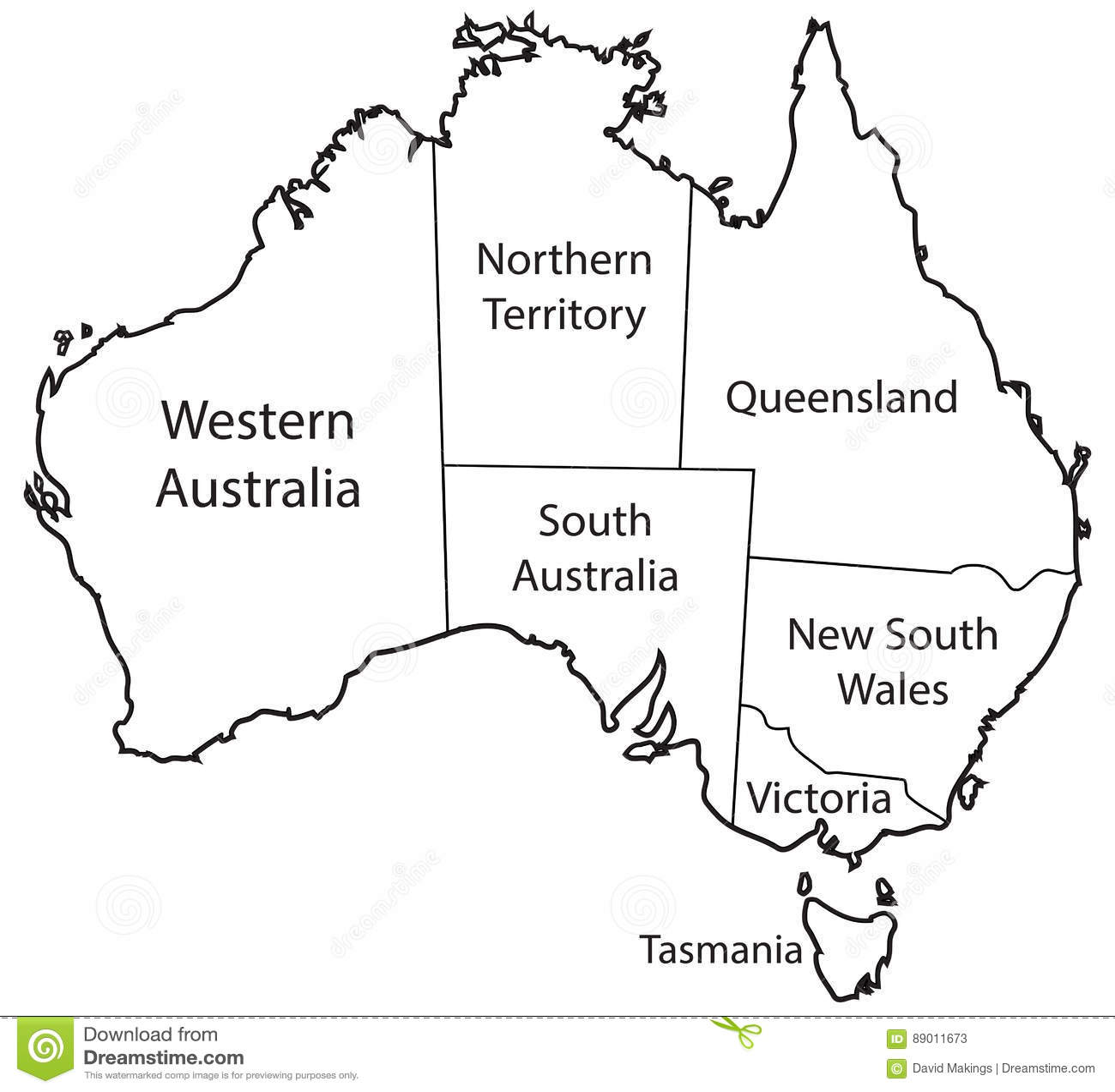 Esquema De Los Territorios De Australia Stock De