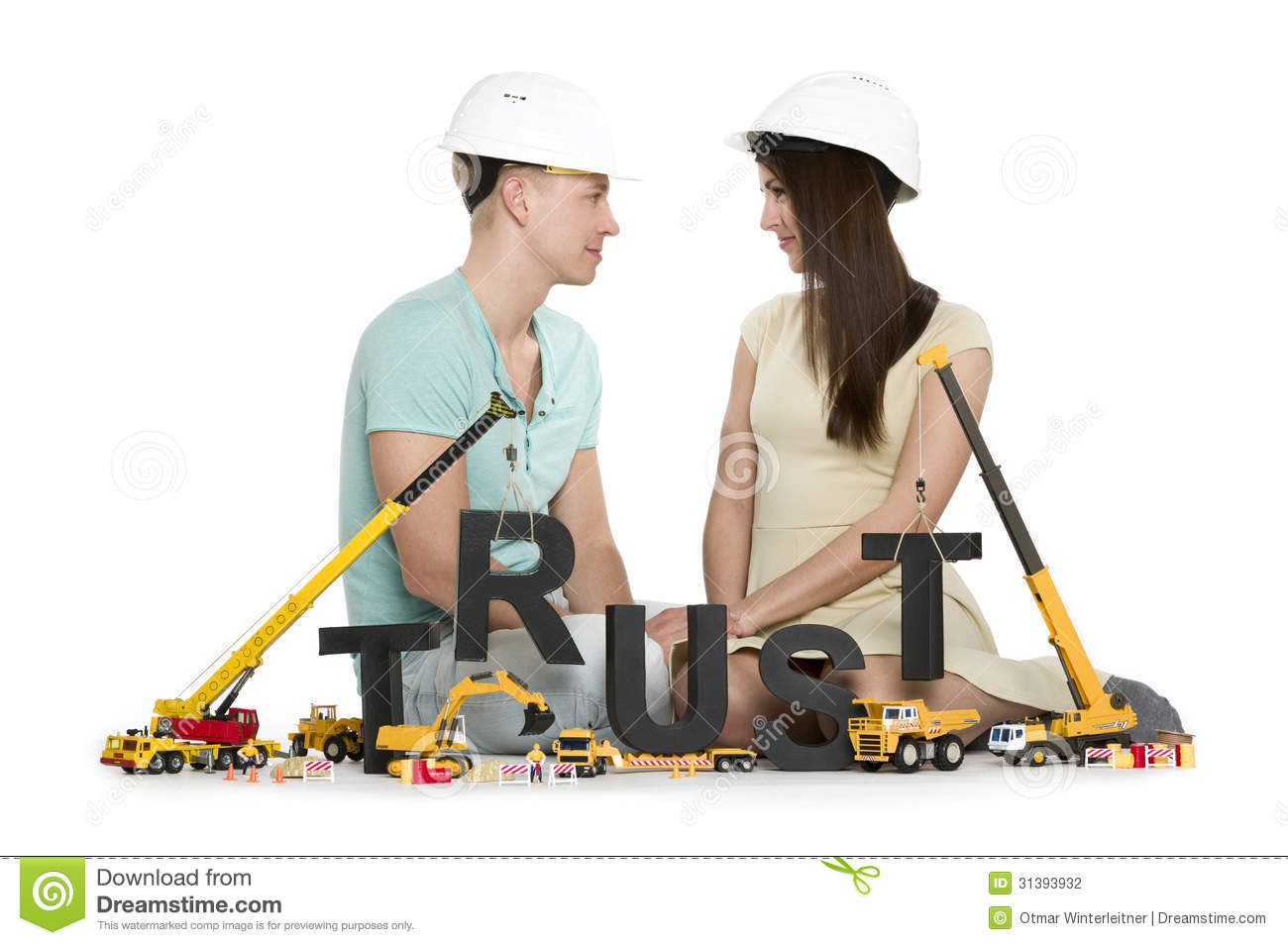 Establishing Trust Young Couple With Machines Building