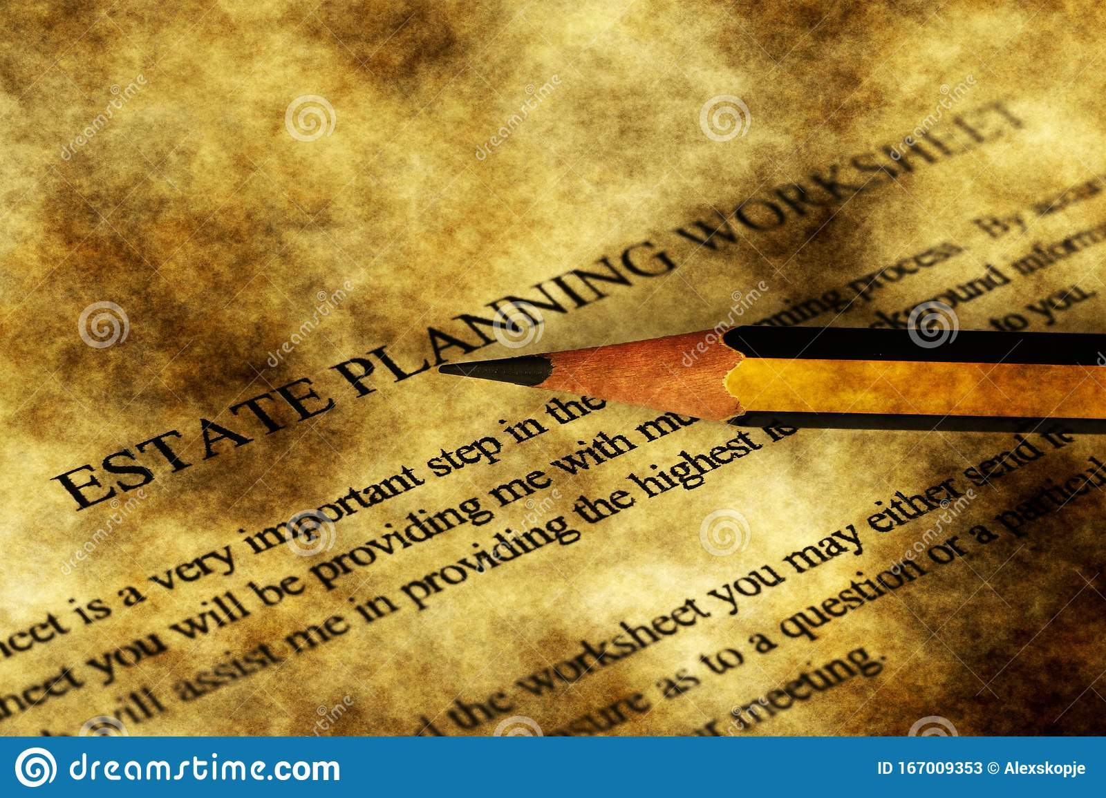 Estate Planning Worksheet Grunge Concept Stock Image