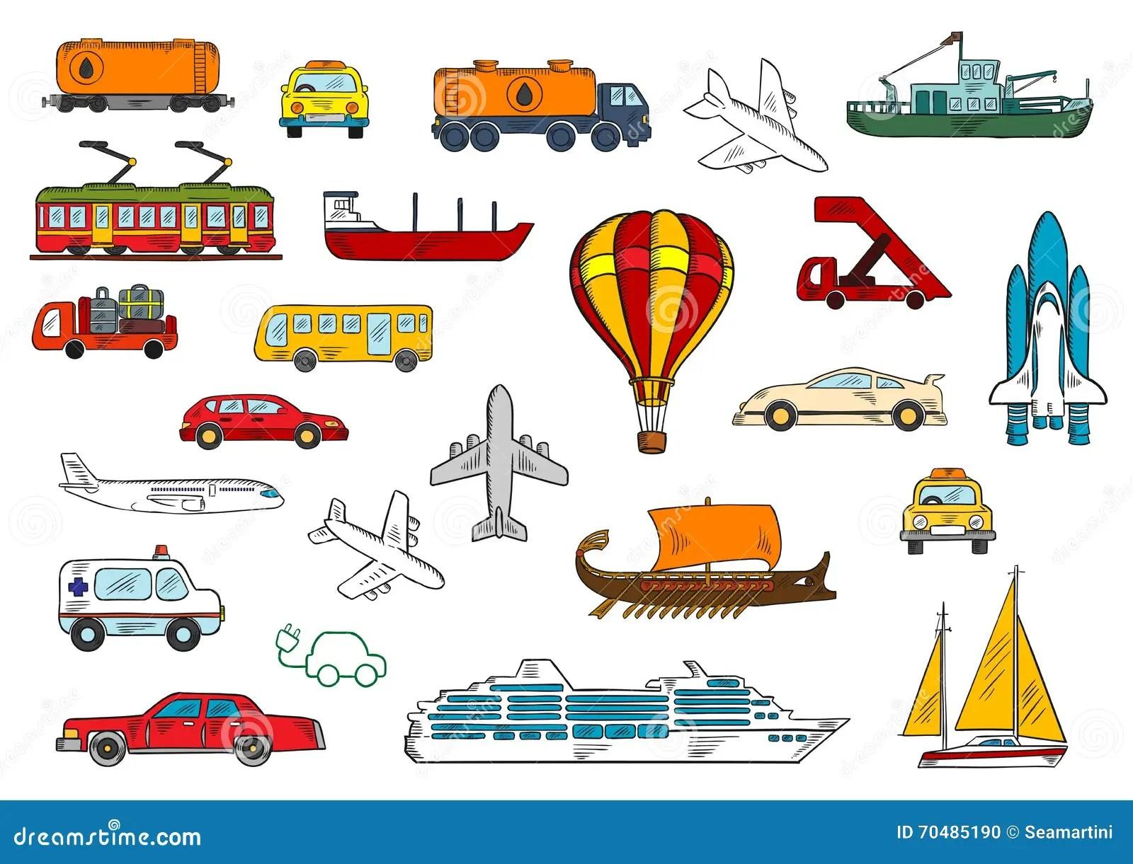 Estrada Ar Estrada De Ferro Simbolos Do Transporte Da