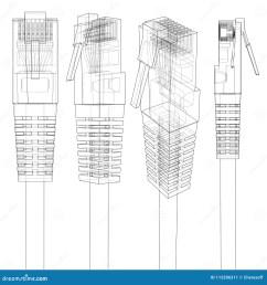 ethernet connector rj45 internet cable in sketch style 3d illustration [ 1386 x 1300 Pixel ]