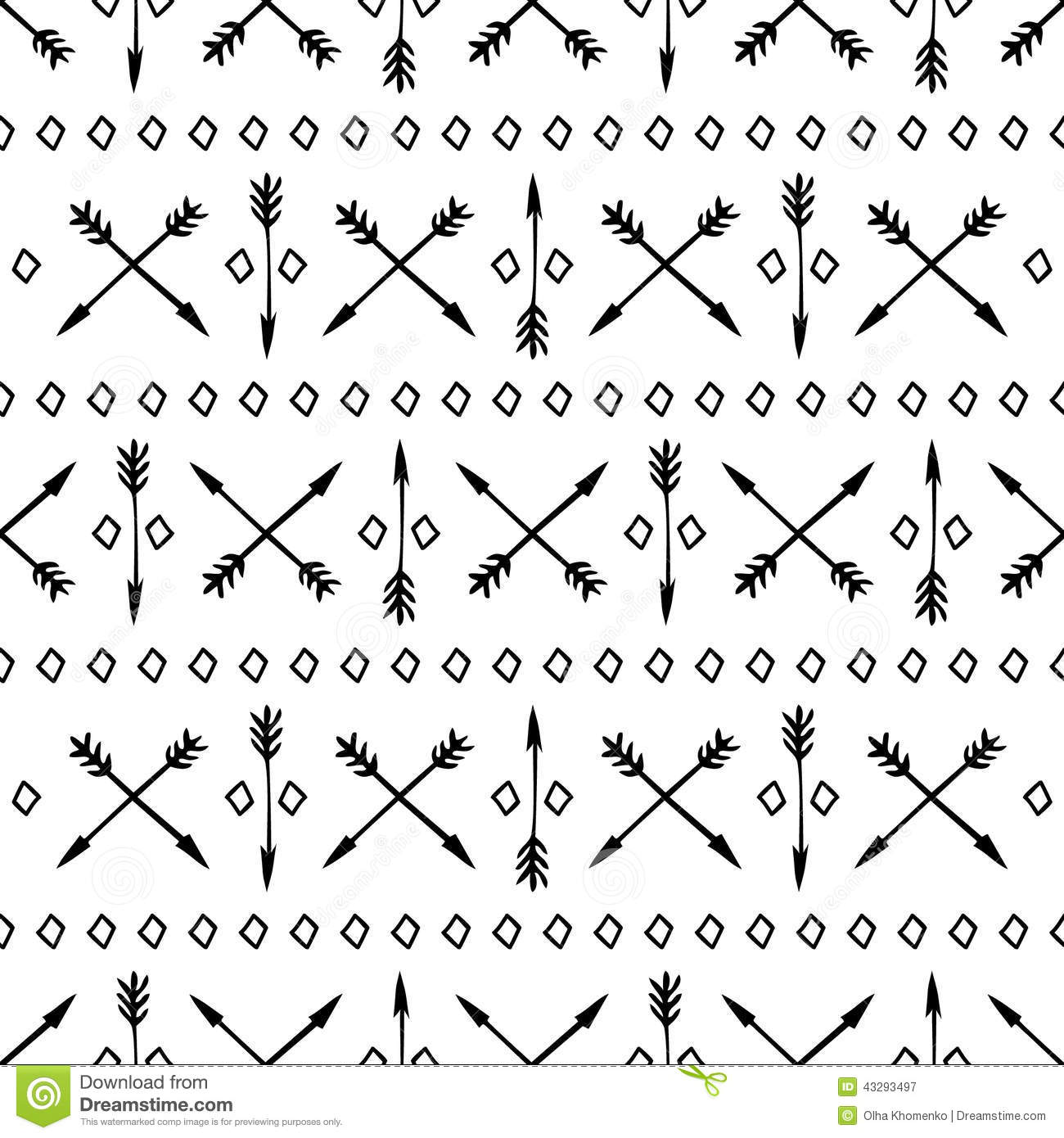 Ethnic Seamless Pattern With Arrows Hand Drawn Stock