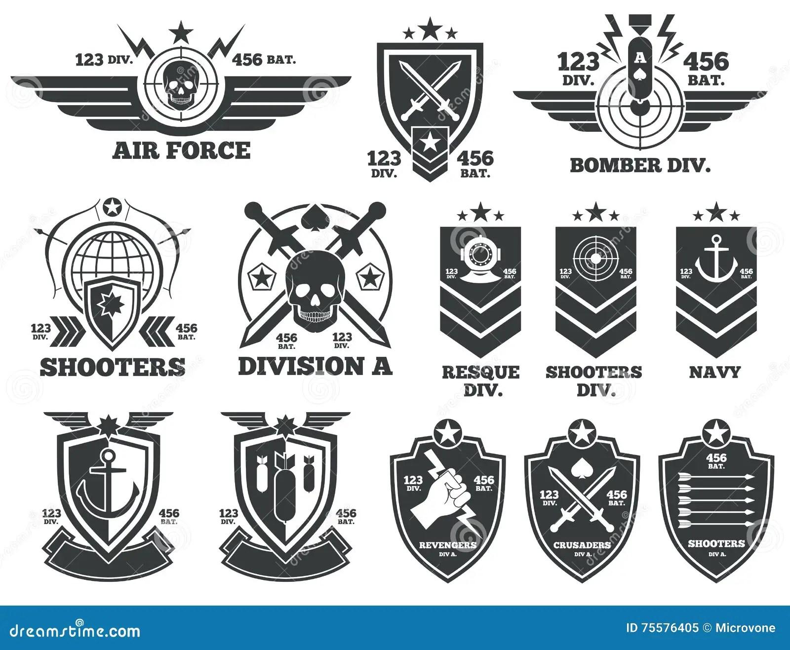Etiquetas E Remendos Militares Do Vetor Do Vintage