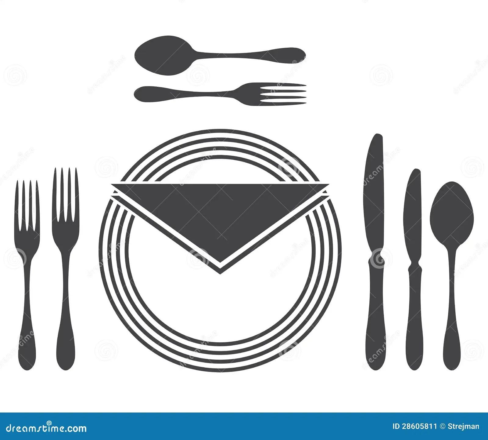 Etiquette Proper Table Setting Cartoon Vector