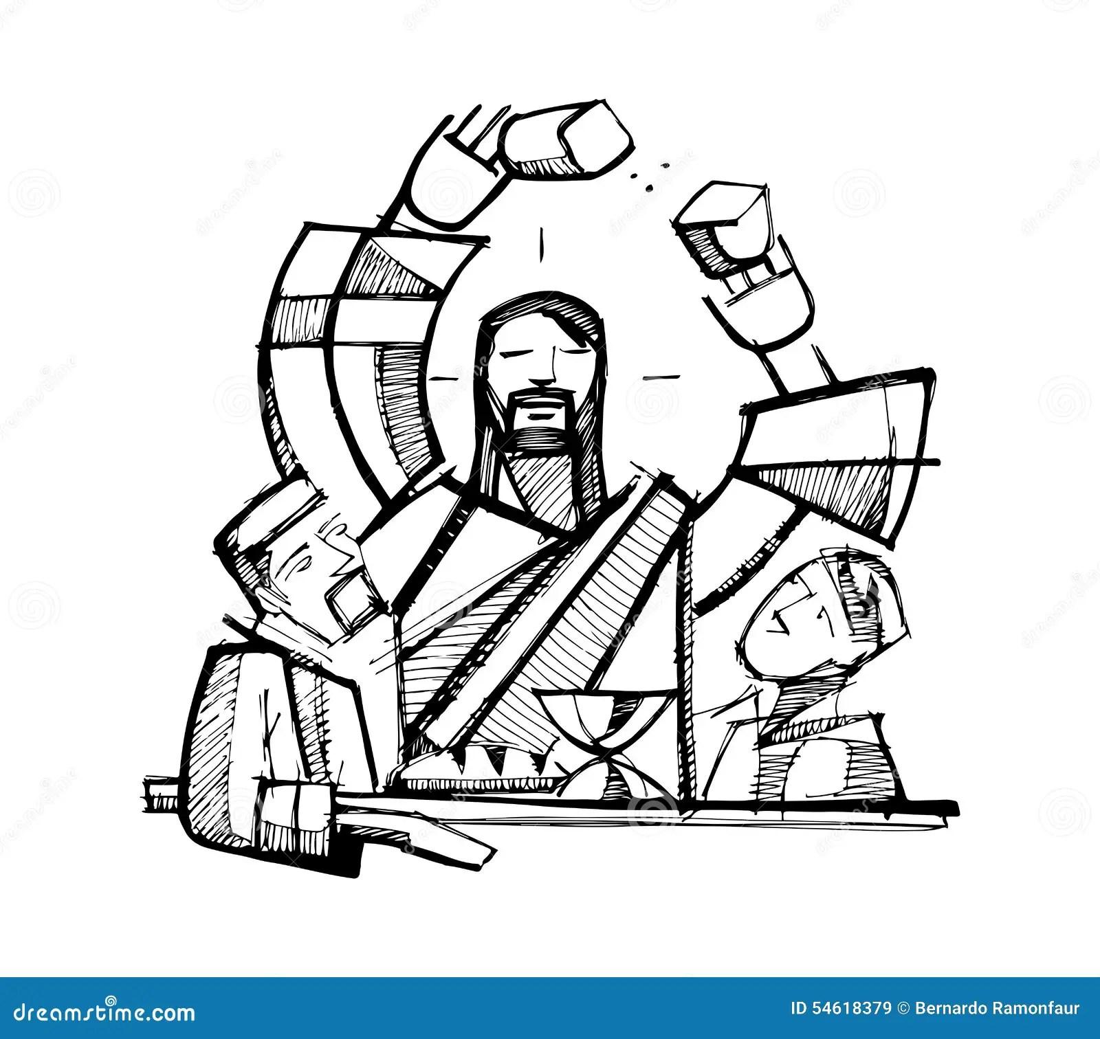 Eucharist Shared Bread Stock Vector Illustration Of Hand