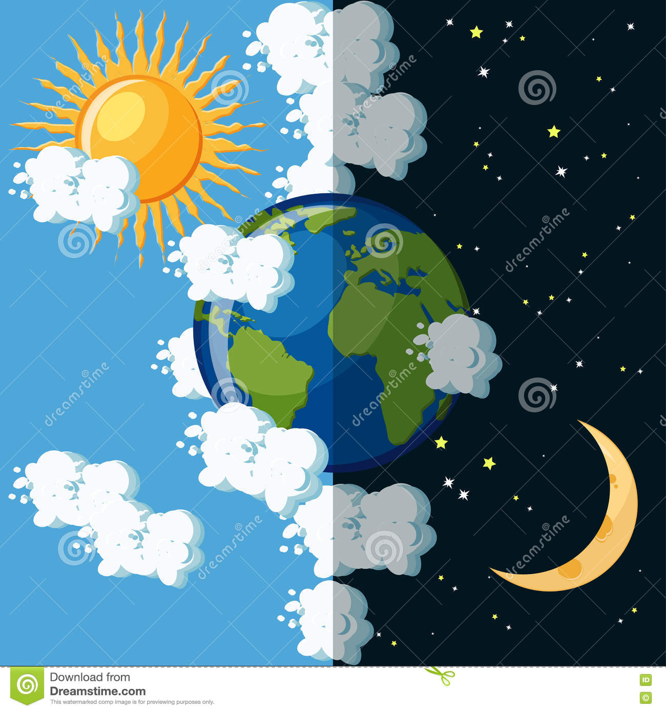 Day And Night On The Planet Earth Concept Stock Vector