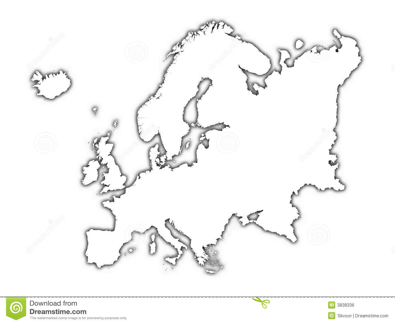 Europe Outline Map With Shadow Royalty Free Stock Image