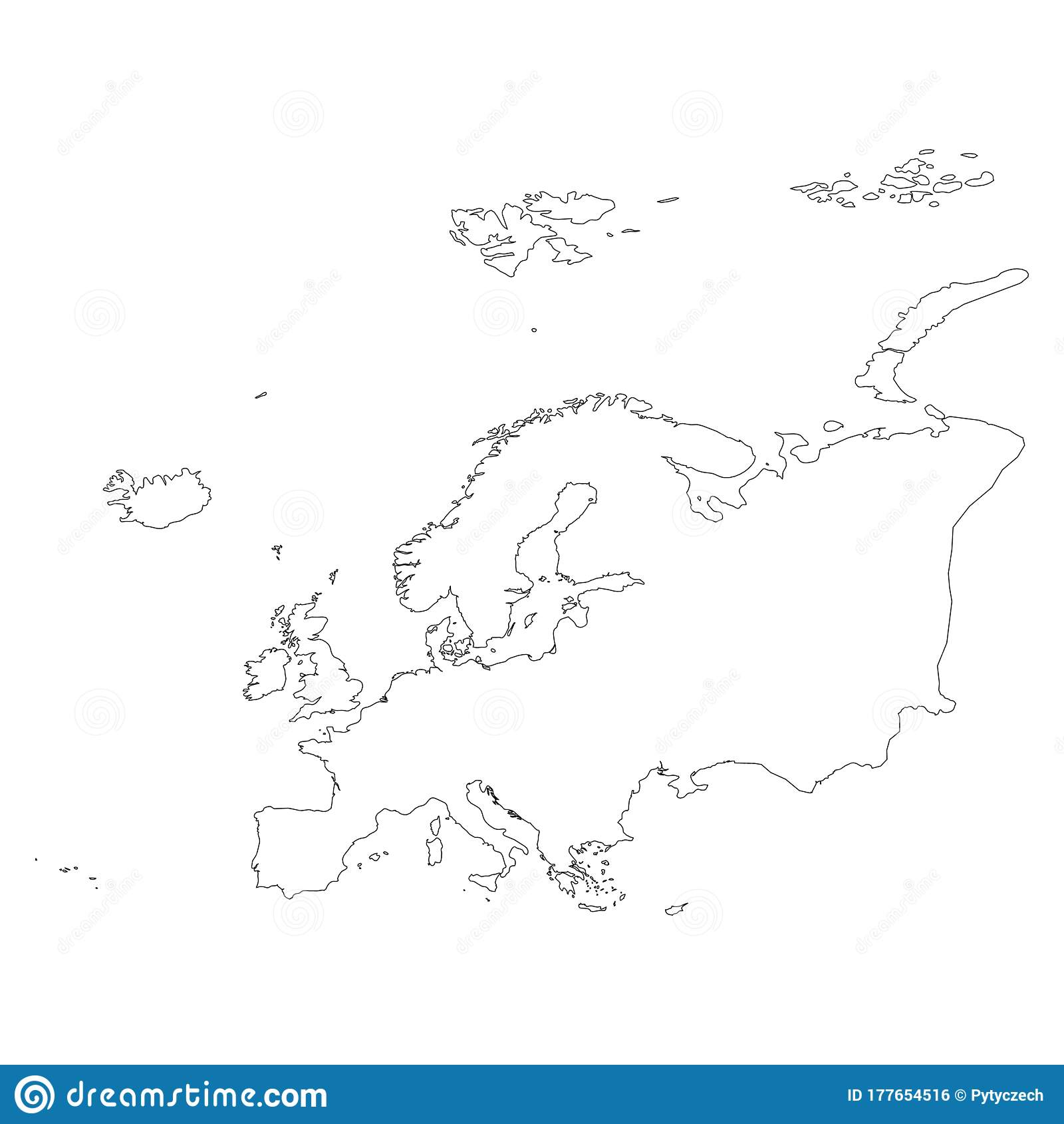 Europe Thin Black Outline Map Contour Map Of Continent
