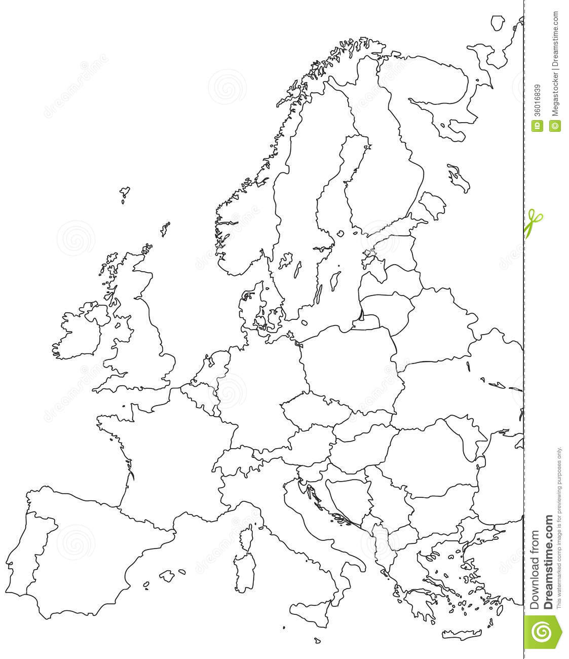 Blank Map Europe Vector