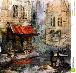 cafe european drawing french outdoor painting graphic illustration restaurant royalty