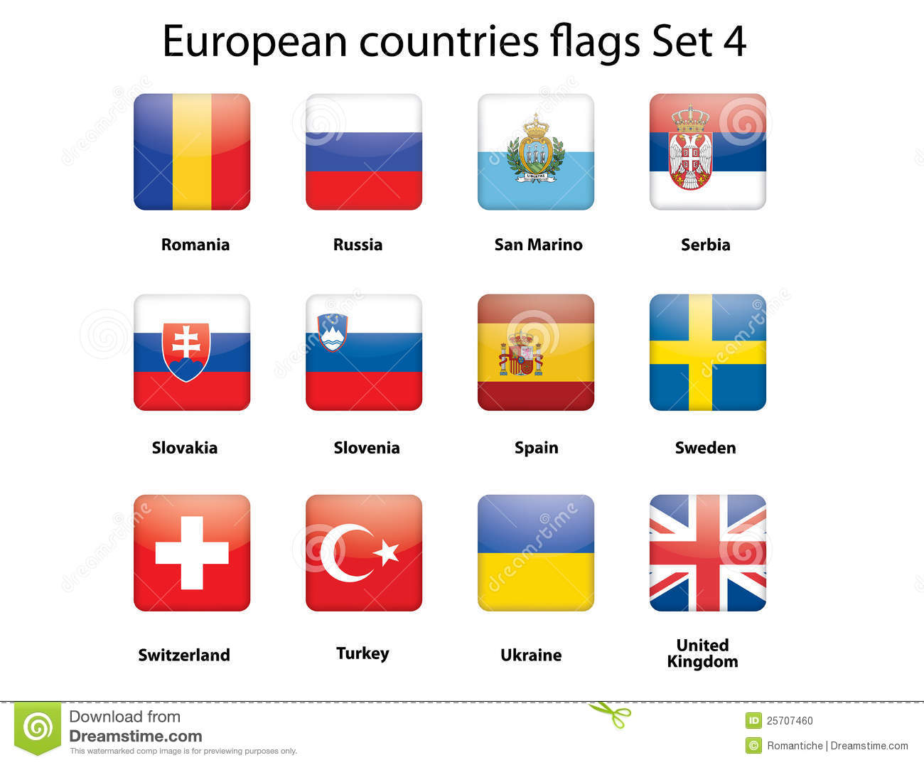 European Countries Flags Set 4 Stock Photo