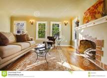 European Luxury Living Room With Fireplace. Stock