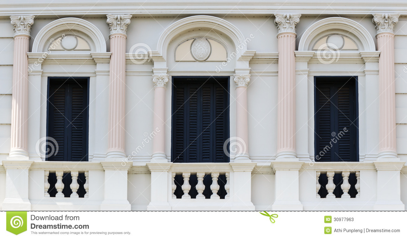 European Style Arch Window In The Grand Palace Bangkok